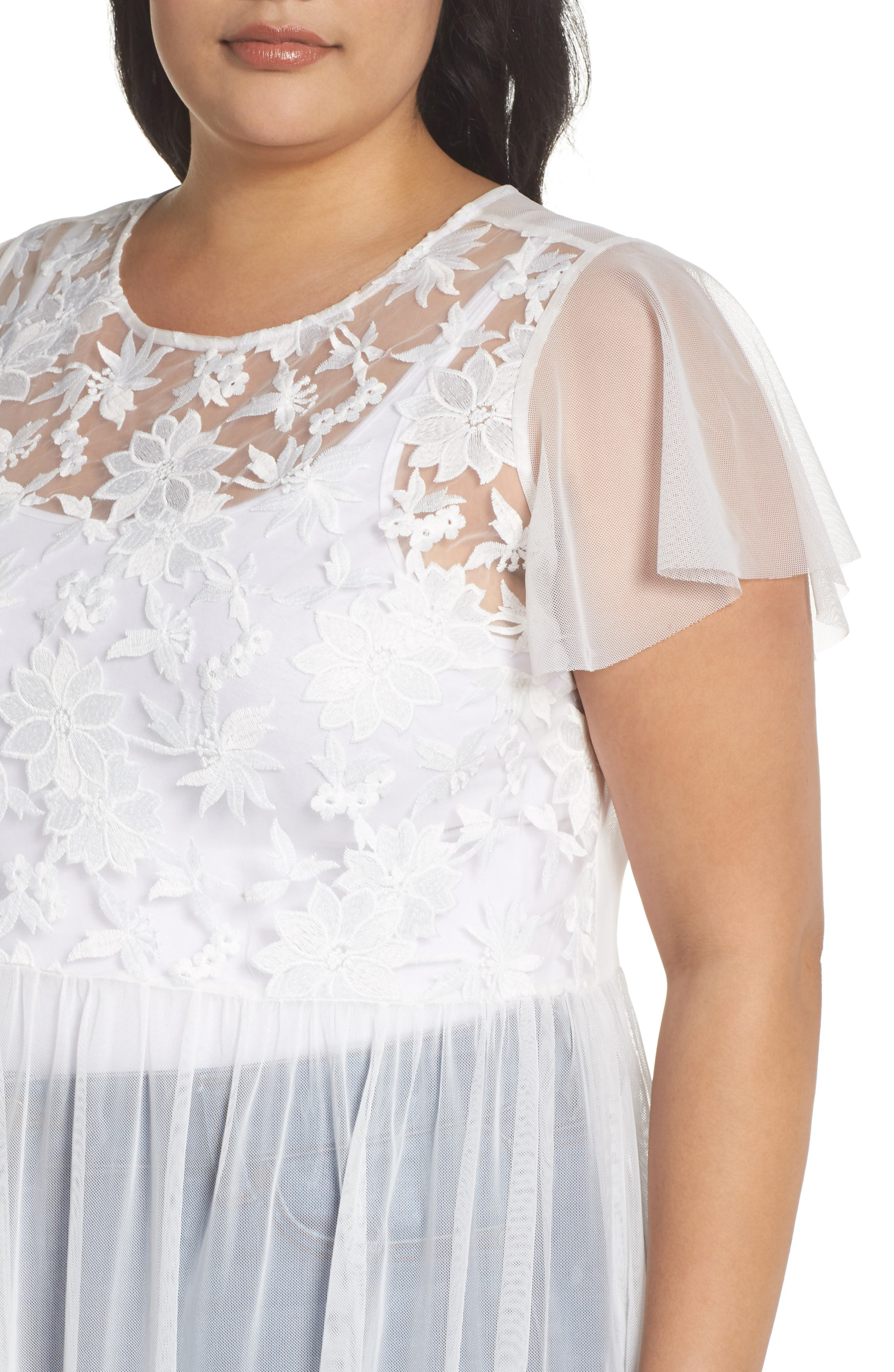Flutter Sleeve Embroidered Mesh Tunic,                             Alternate thumbnail 4, color,                             Ultra White