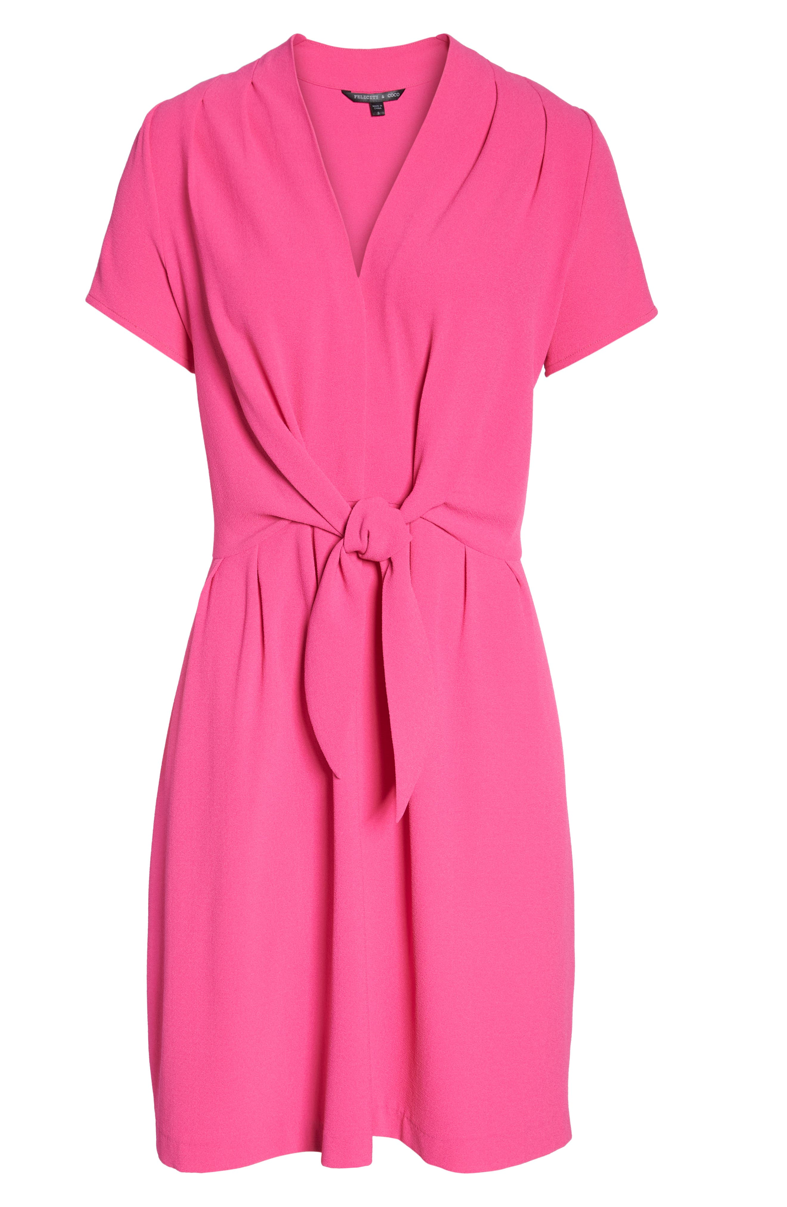 Tie Front Sheath Dress,                             Alternate thumbnail 7, color,                             Hot Pink