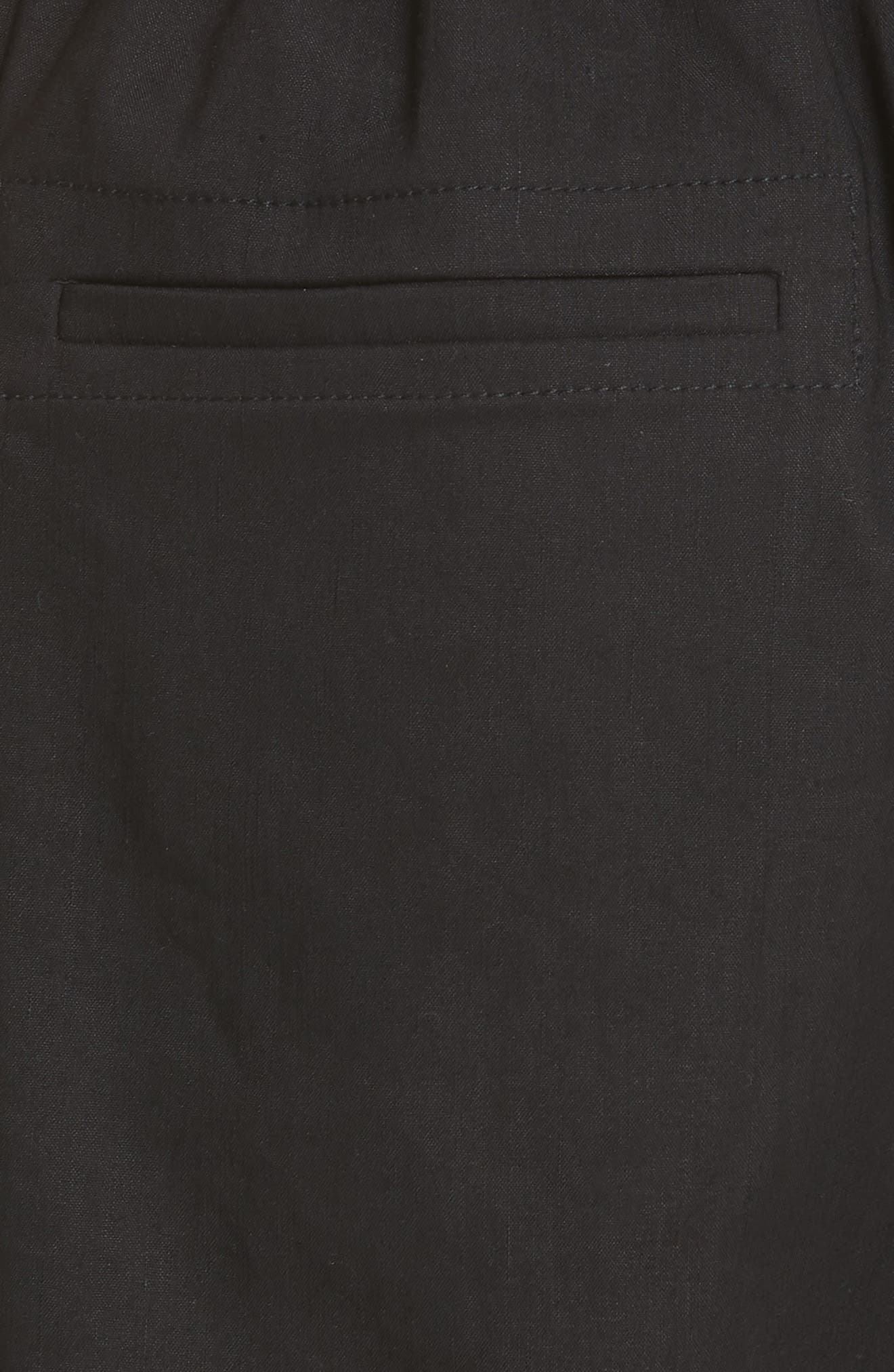 Rope Tie Linen Blend Shorts,                             Alternate thumbnail 5, color,                             Black