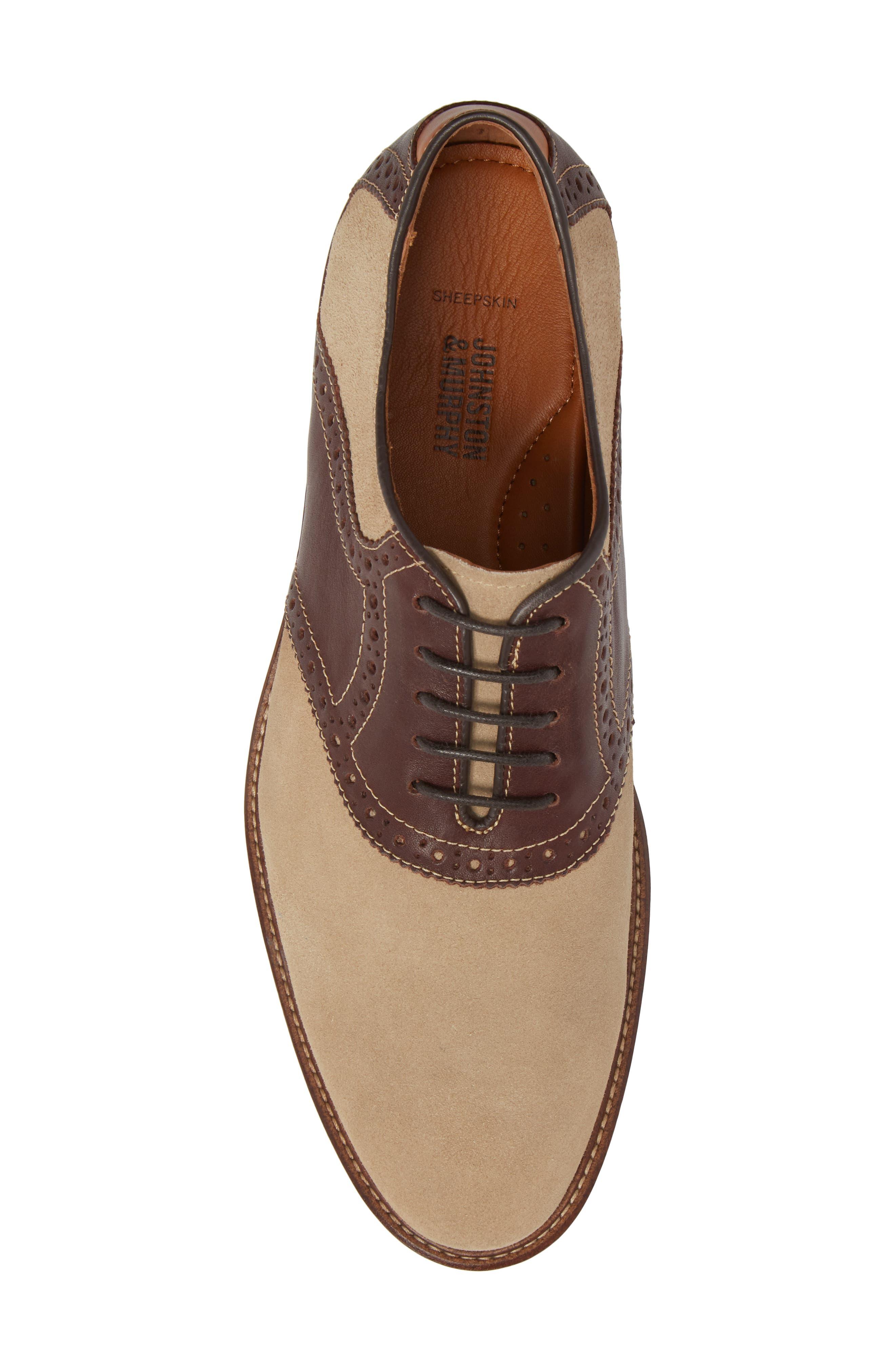 Warner Saddle Shoe,                             Alternate thumbnail 5, color,                             Camel Nubuck