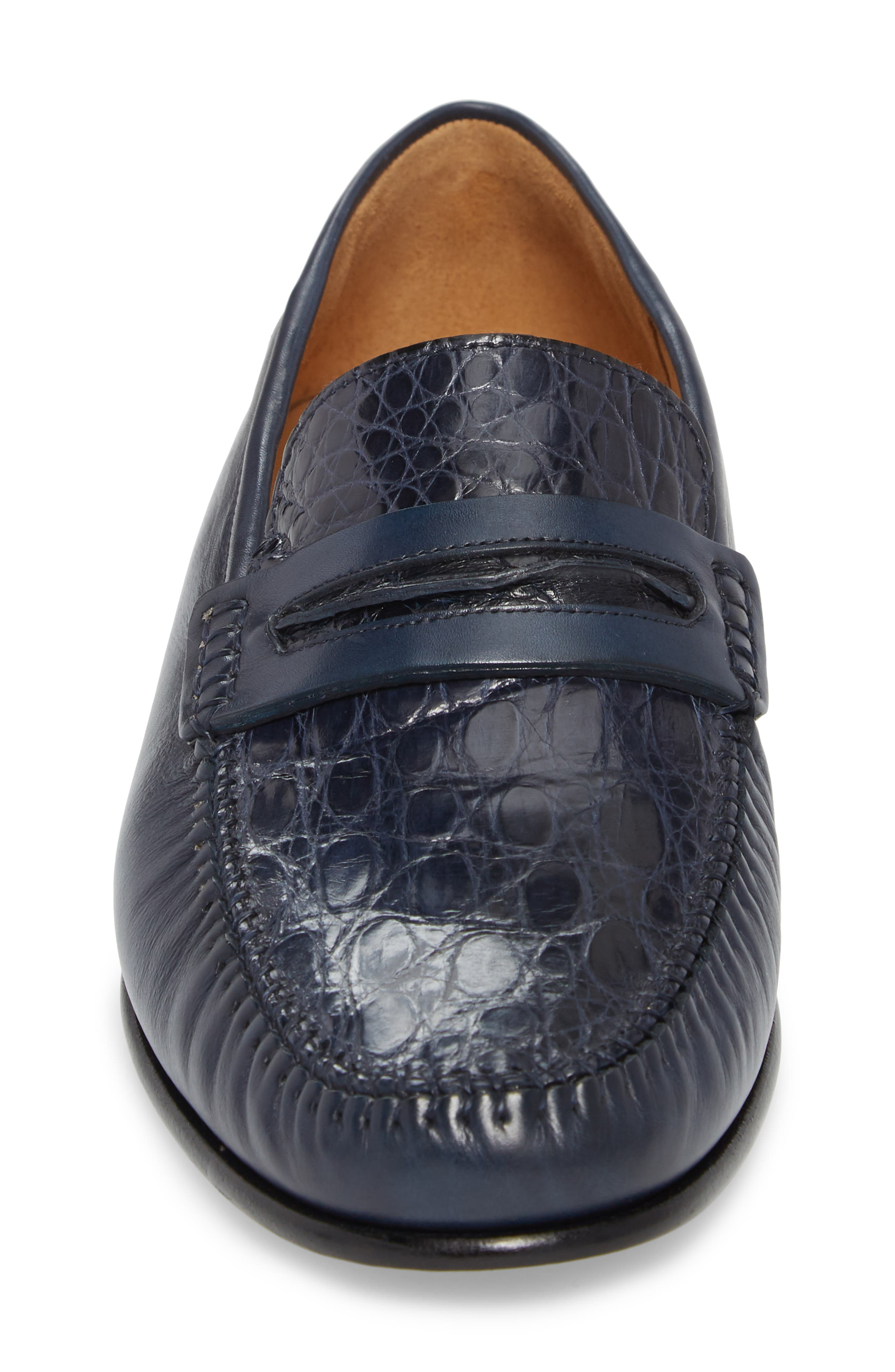 Kronos Moc Toe Penny Loafer,                             Alternate thumbnail 4, color,                             Blue Leather