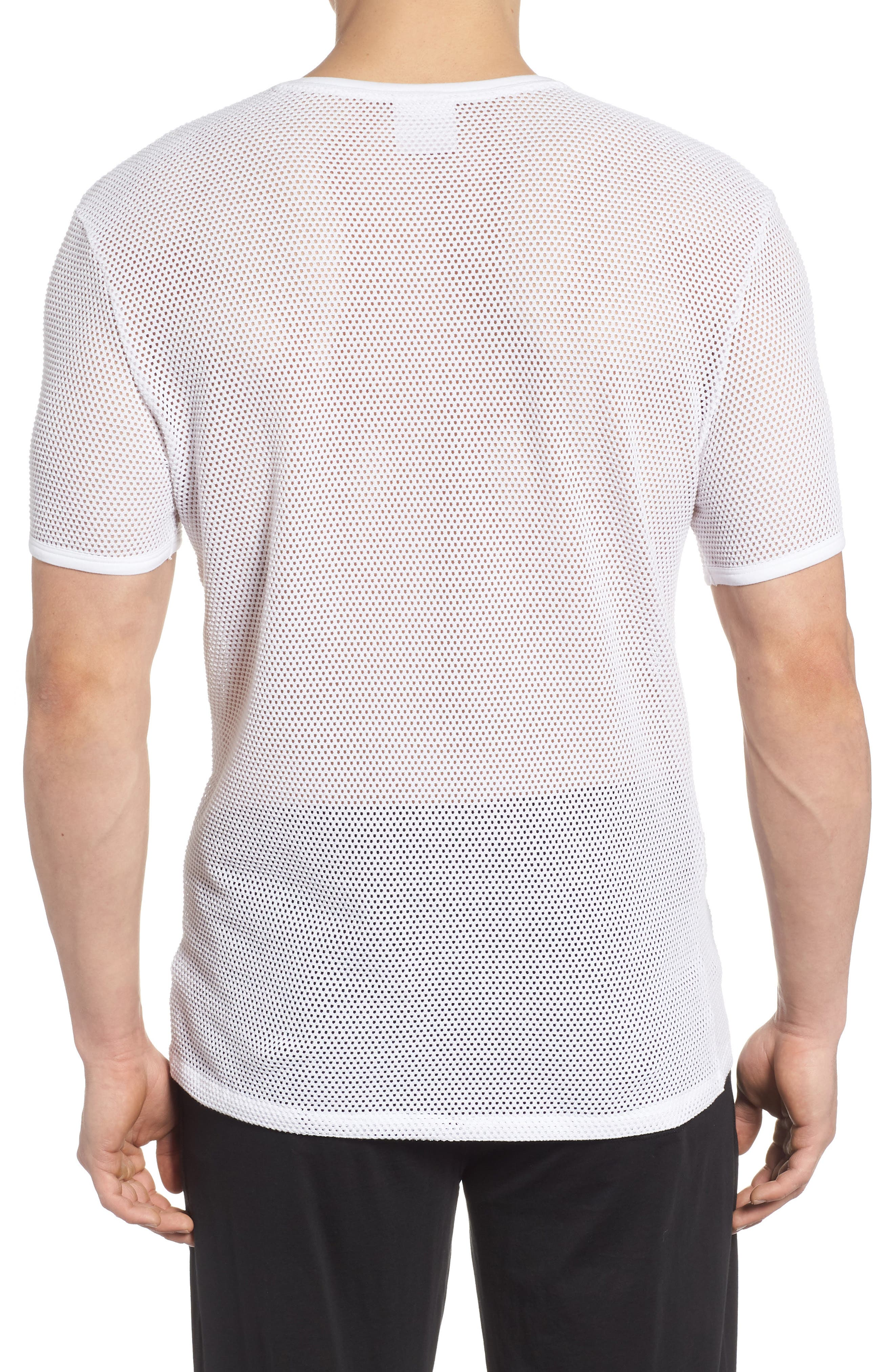Stretch Mesh T-Shirt,                             Alternate thumbnail 2, color,                             White