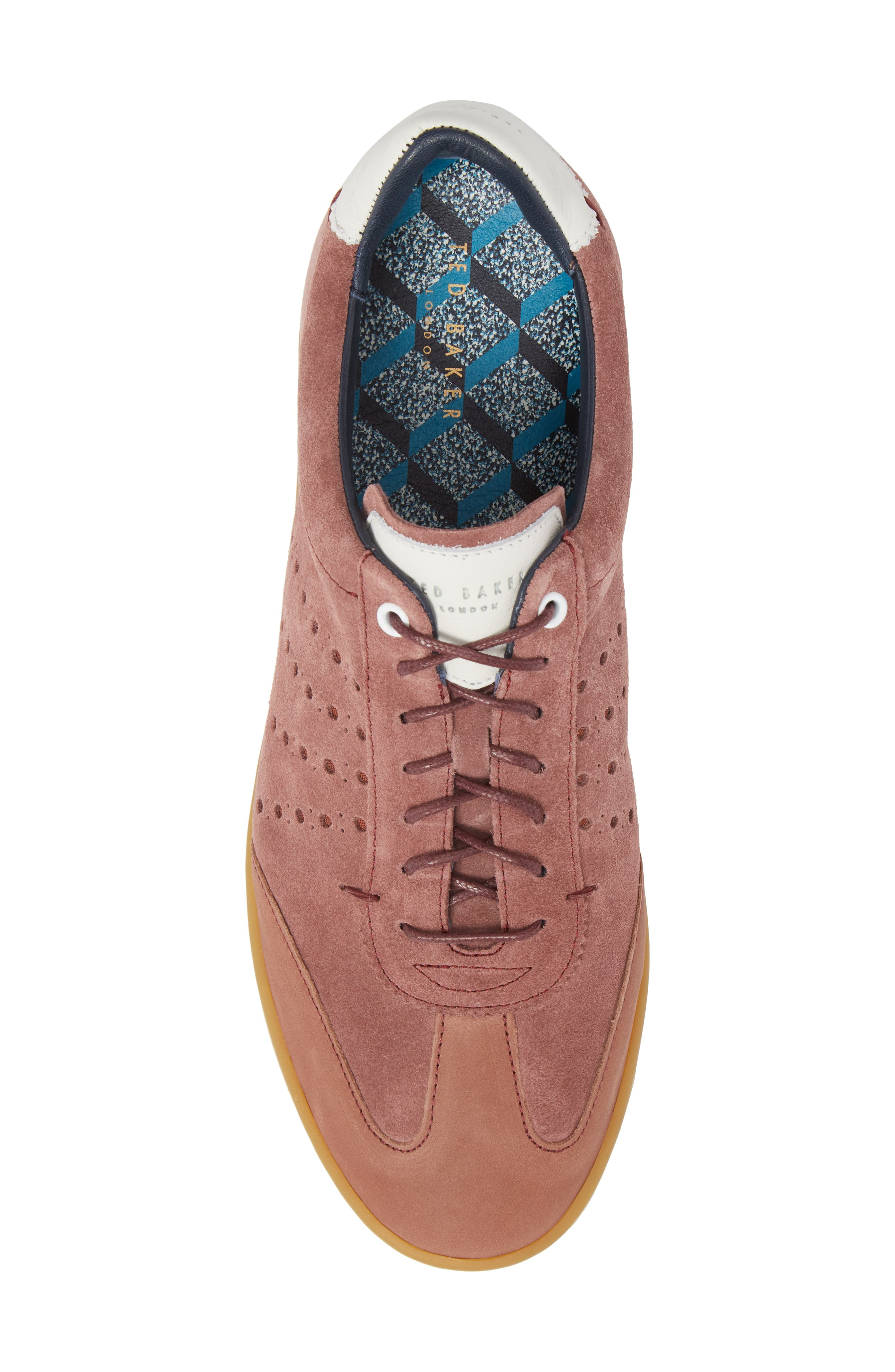 Orlees Low Top Sneaker,                             Alternate thumbnail 5, color,                             Pink Leather/ Suede