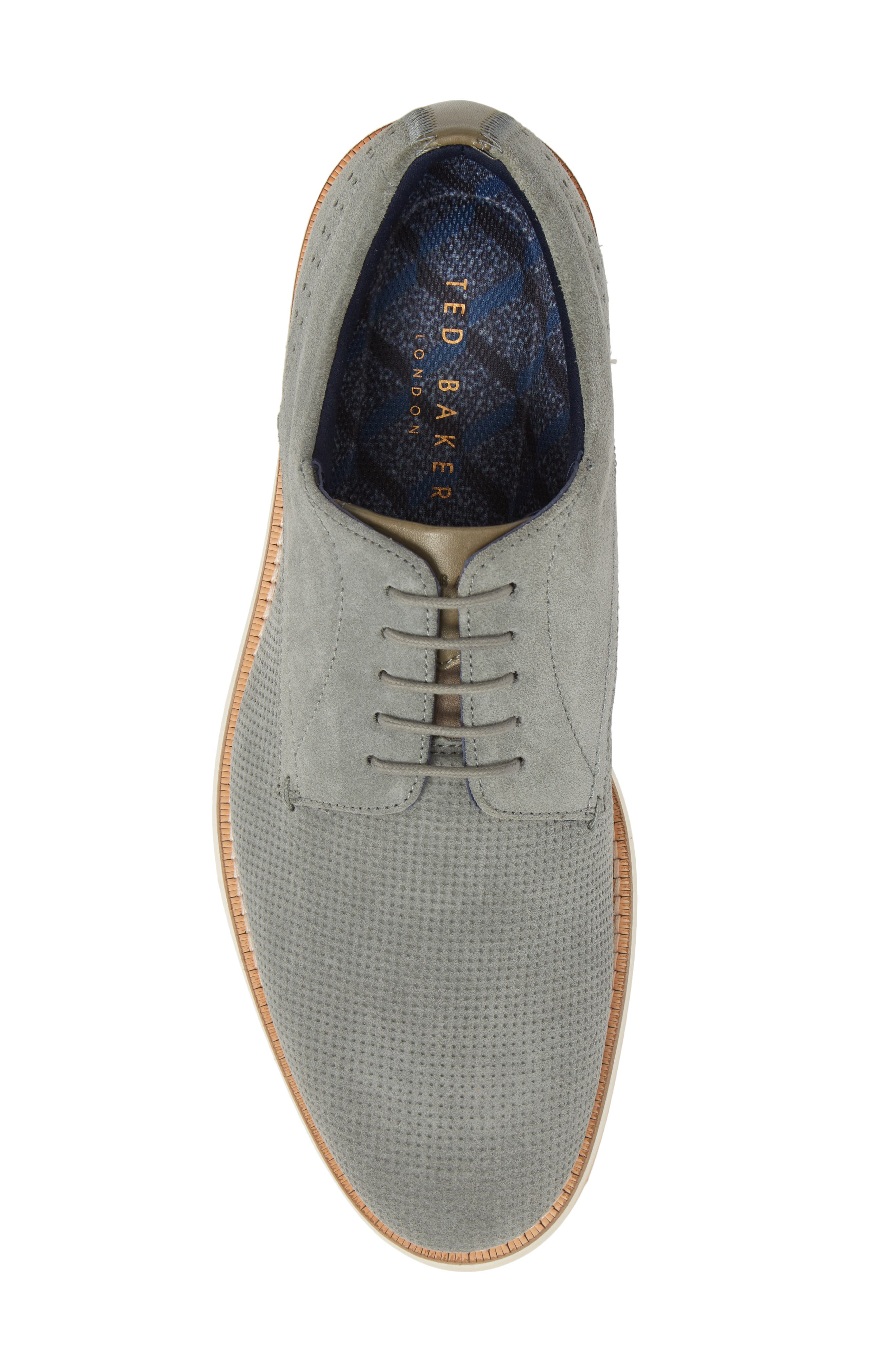 Lapiin Embossed Plain Toe Derby,                             Alternate thumbnail 5, color,                             Grey Suede