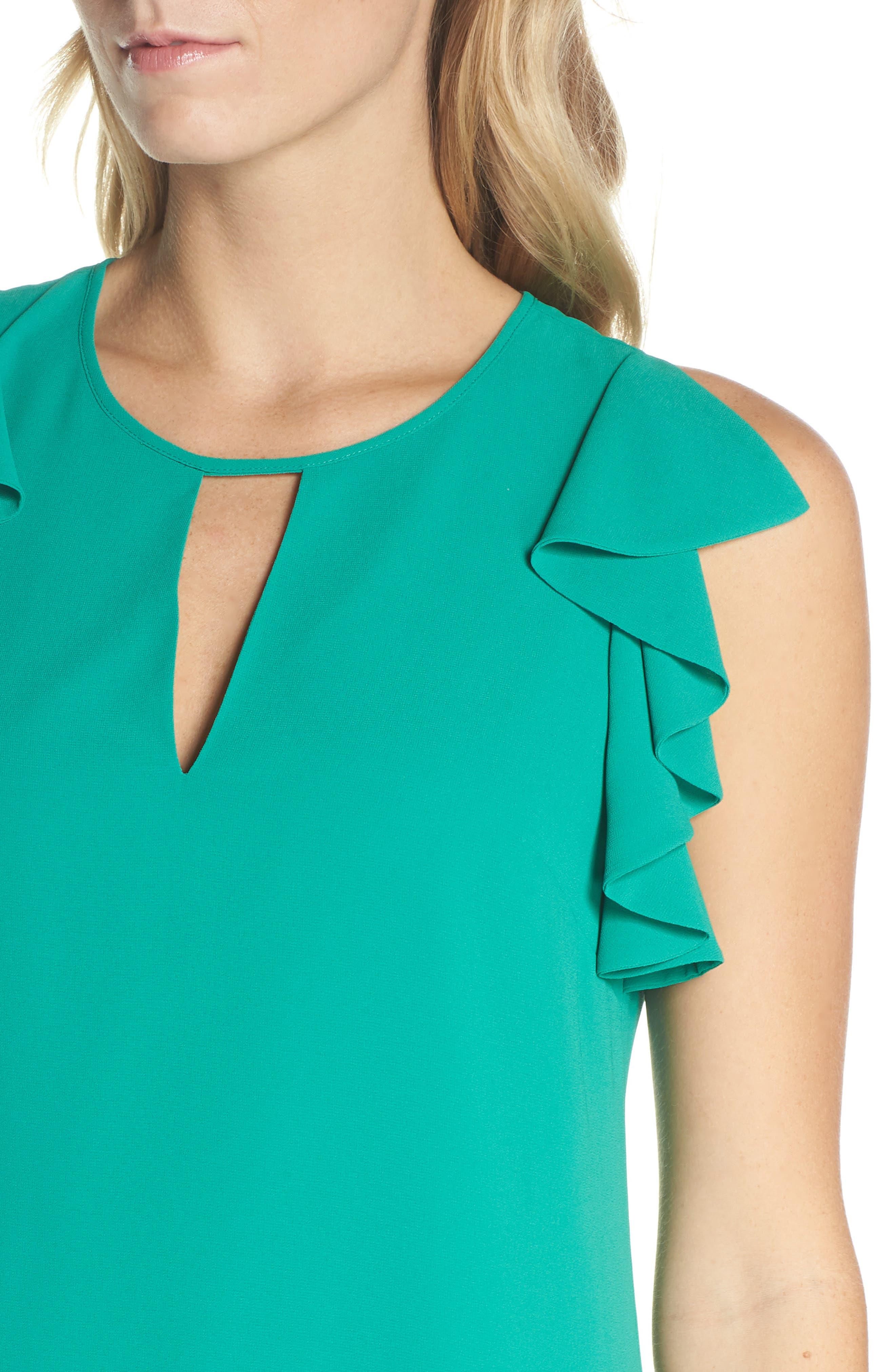 Soufflé Ruffle Chiffon Shift Dress,                             Alternate thumbnail 4, color,                             Green