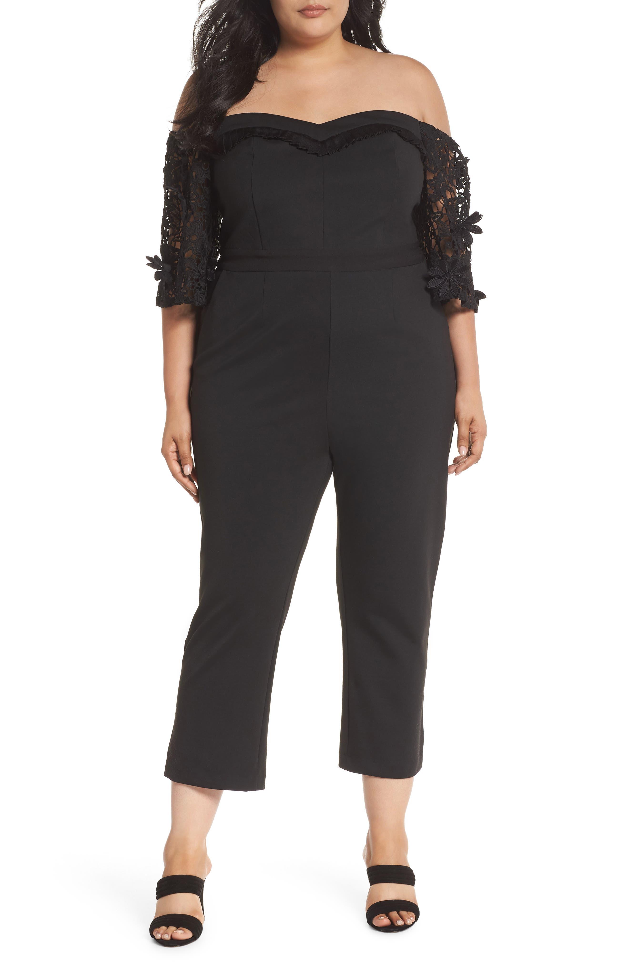 Lace Sleeve Off the Shoulder Jumpsuit,                         Main,                         color, Black
