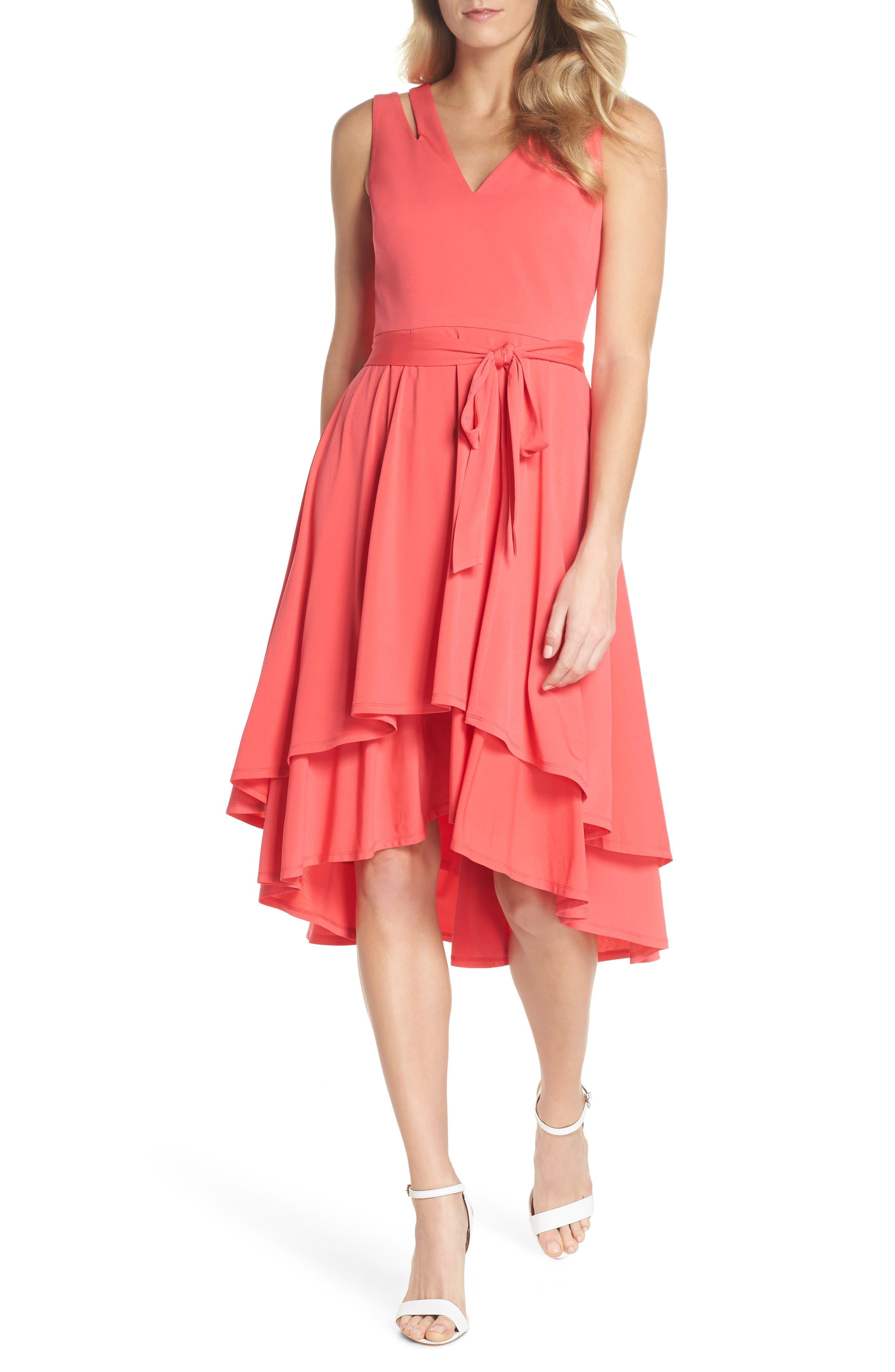 Main Image - Vince Camuto Split Shoulder High/Low Dress (Regular & Petite)