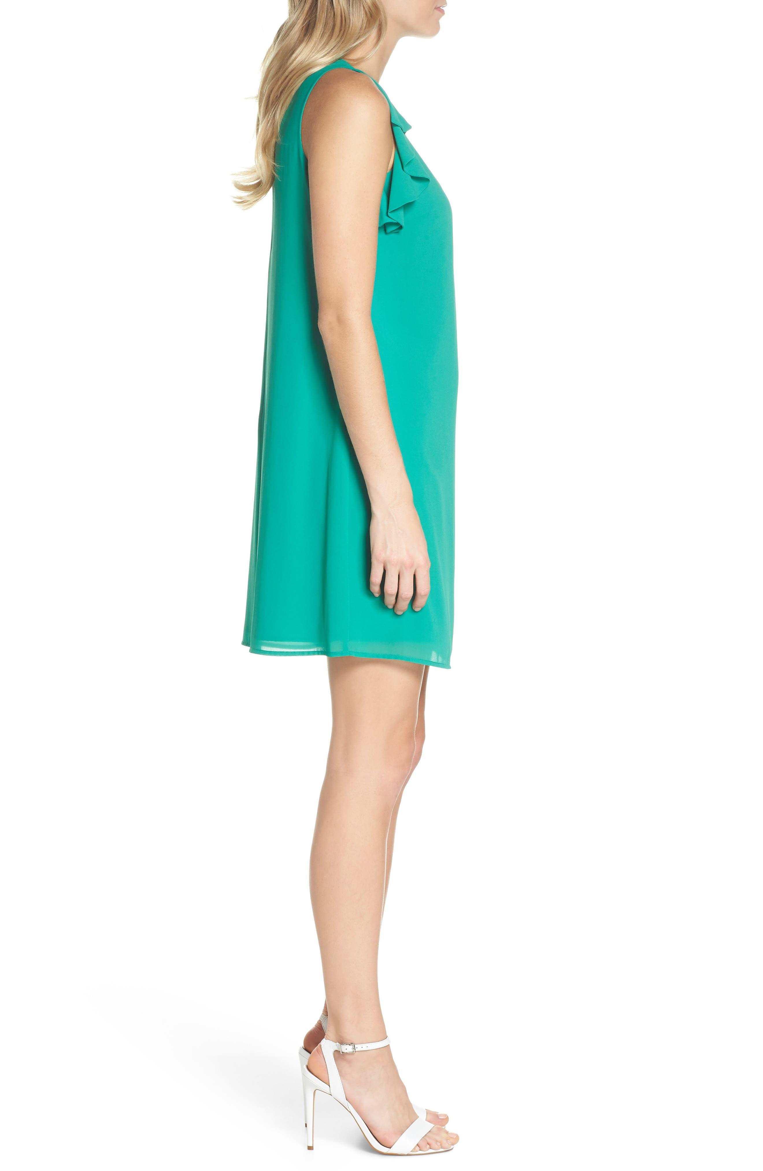 Soufflé Ruffle Chiffon Shift Dress,                             Alternate thumbnail 3, color,                             Green