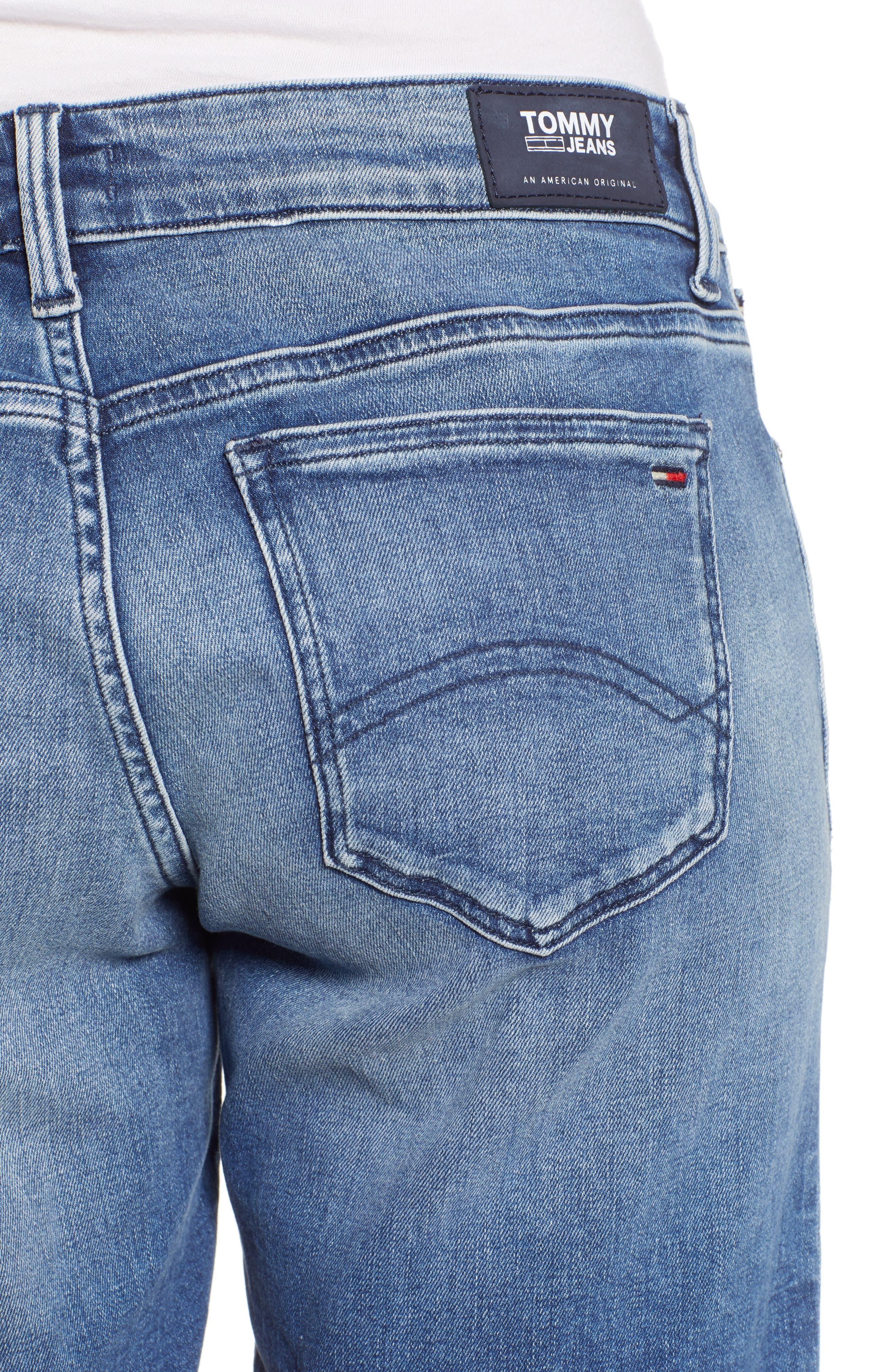 Classic Long Denim Shorts,                             Alternate thumbnail 6, color,                             Newport Mid Blue Str