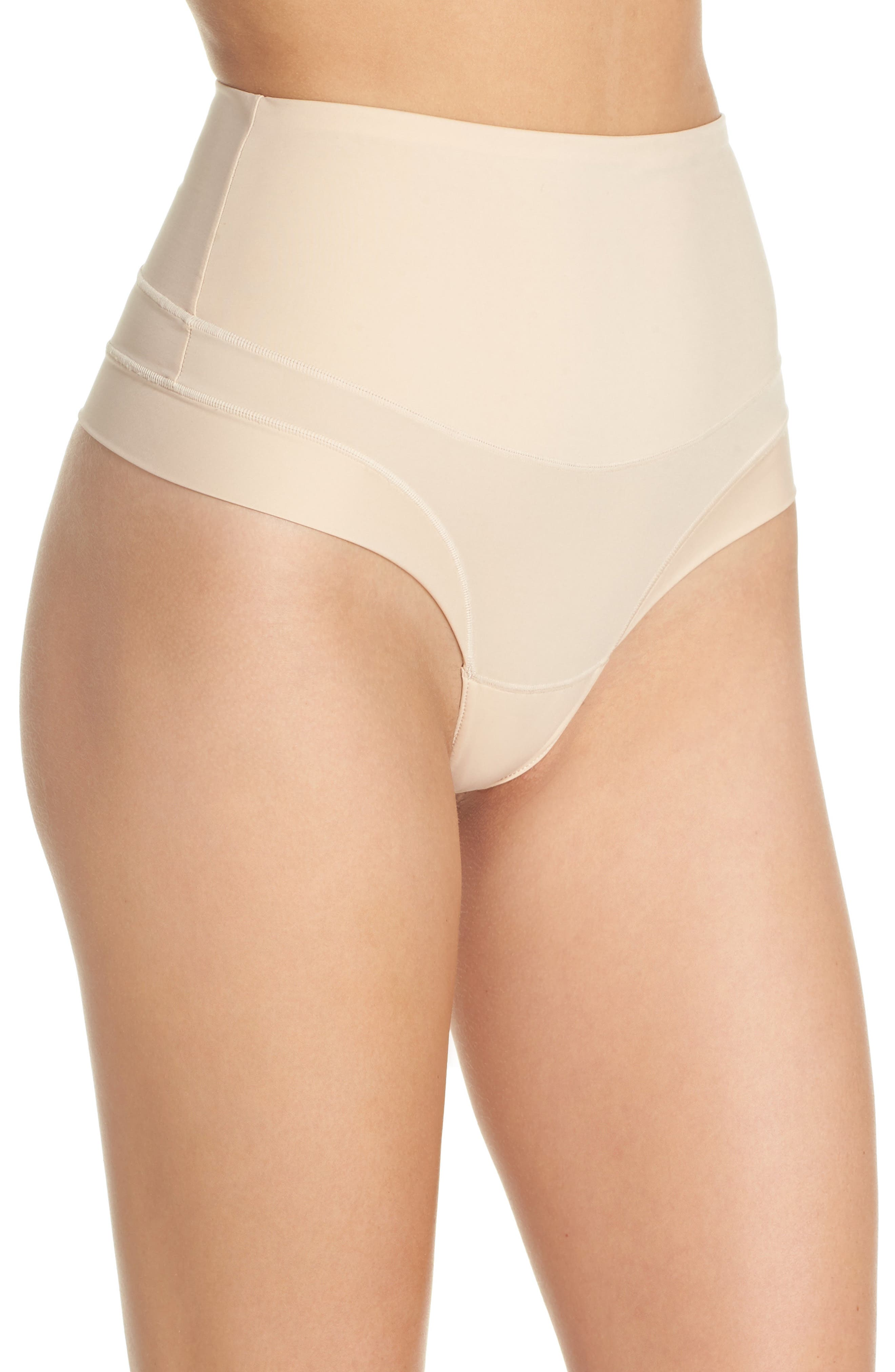 Tummie Tamers Mid Waist Thong,                             Alternate thumbnail 3, color,                             Frappe