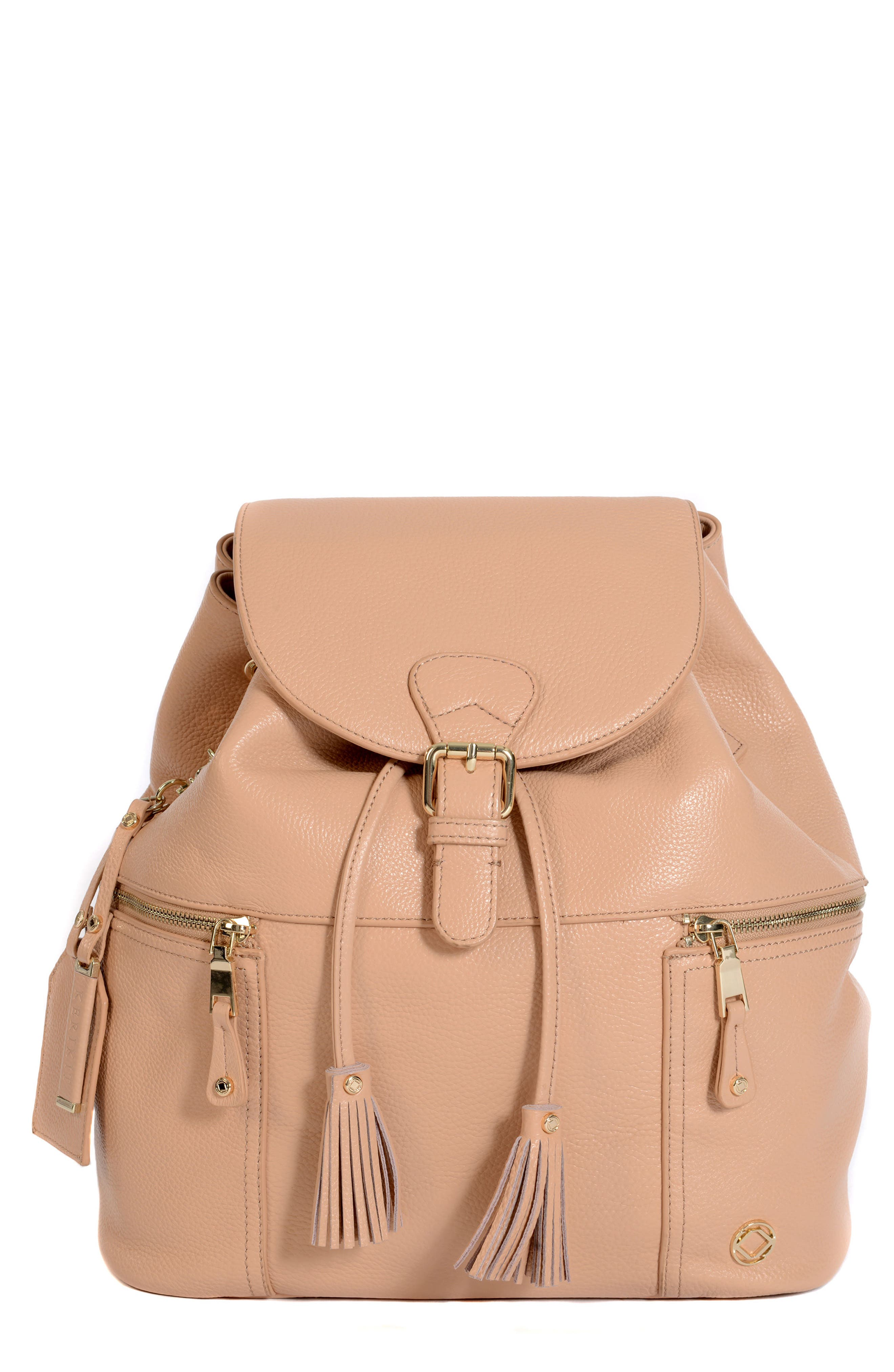 Thor Leather Backpack,                         Main,                         color, Nude With Gold Hardware