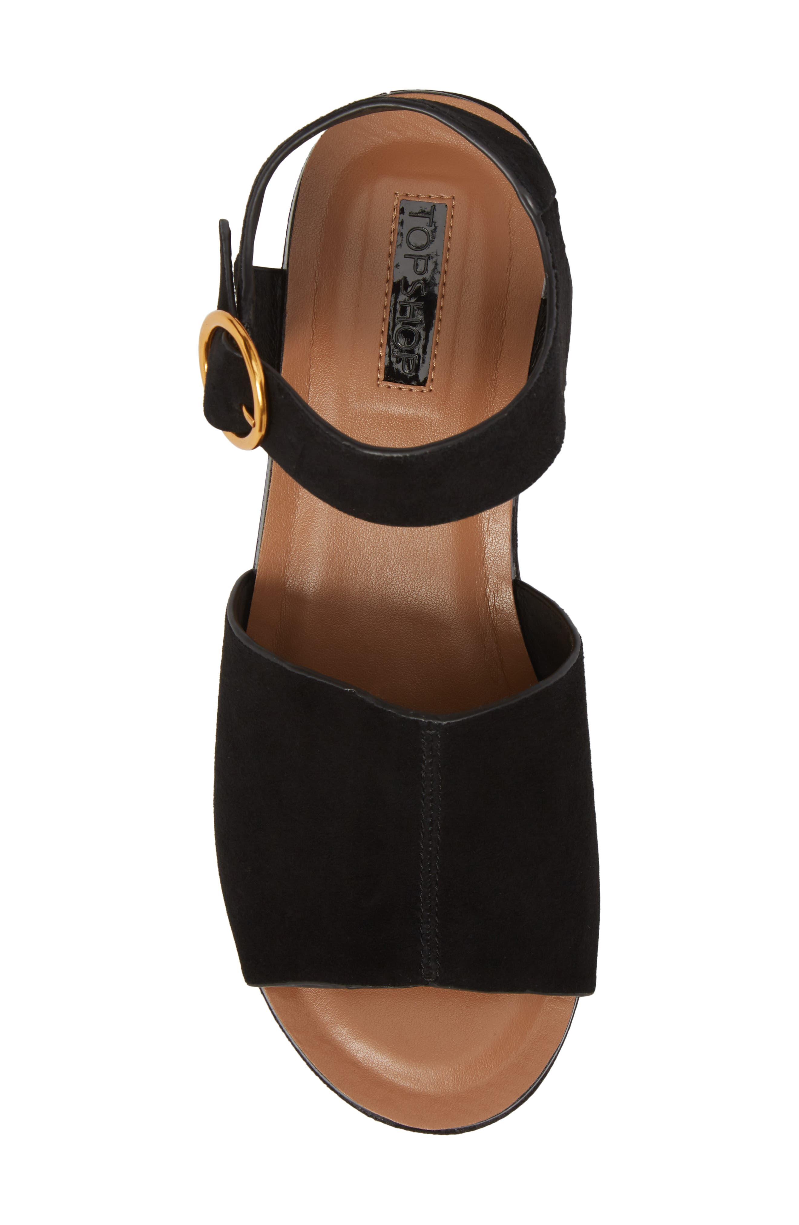 Wow Platform Wedge Sandal,                             Alternate thumbnail 5, color,                             Black