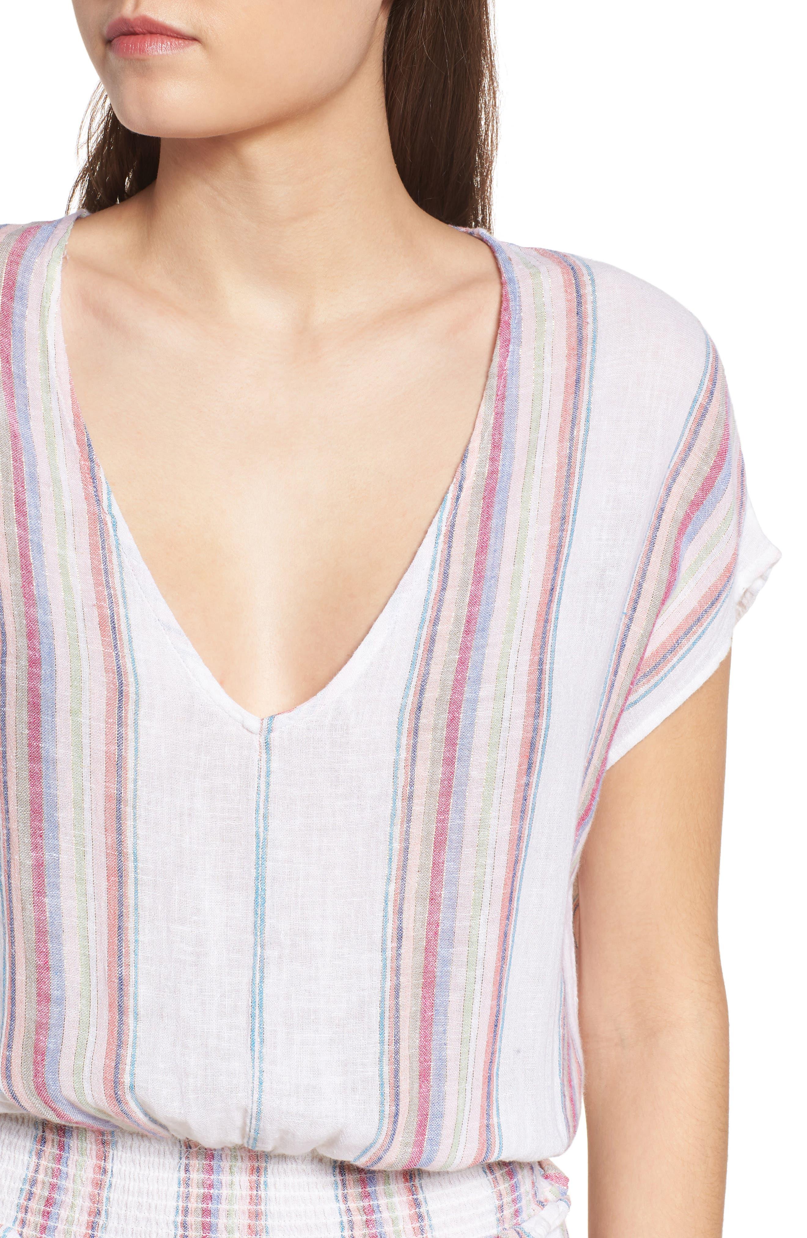 Lucca Linen Blend Dress,                             Alternate thumbnail 4, color,                             Havana Stripe