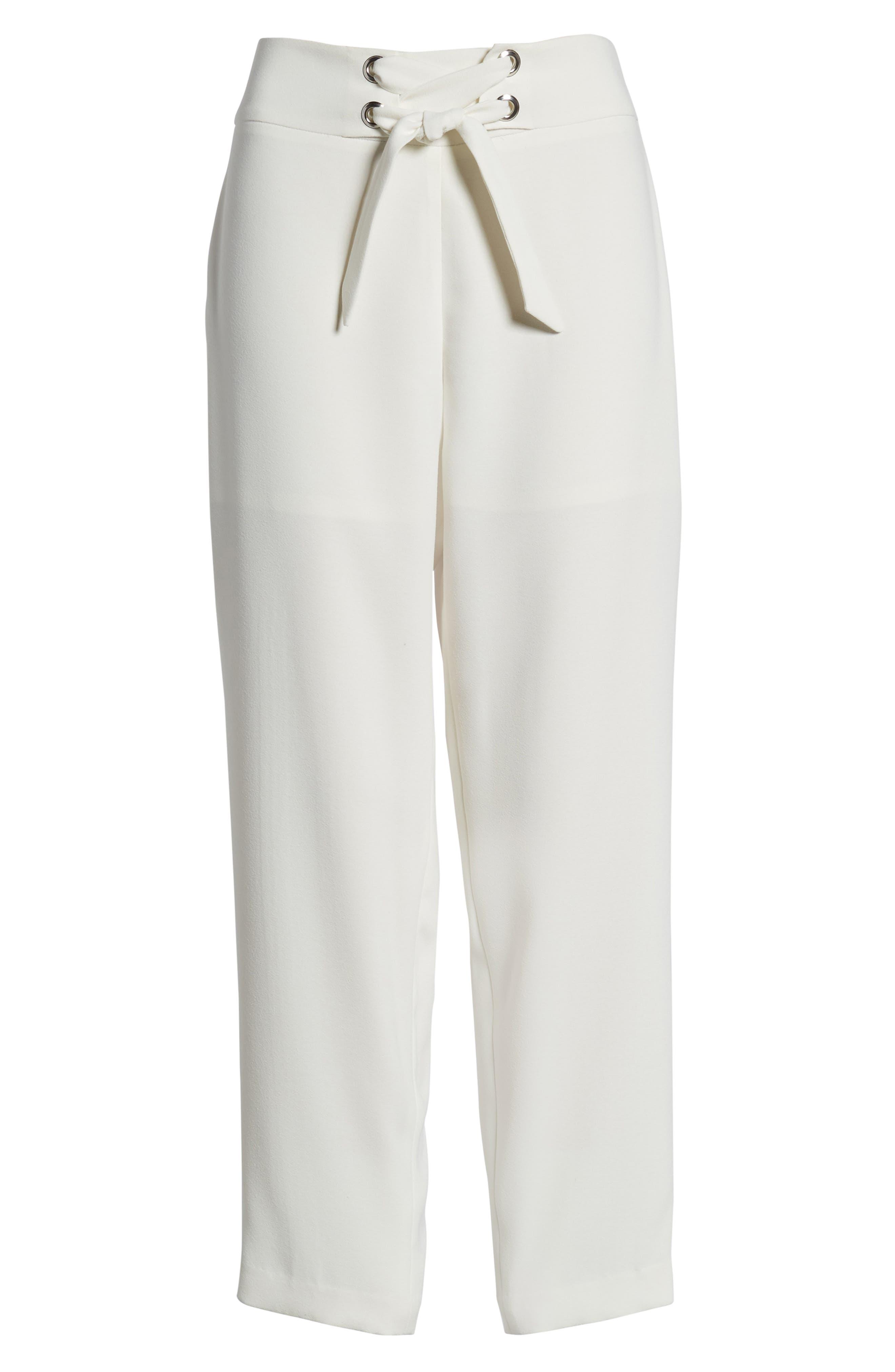 Tie Front Pants,                             Alternate thumbnail 7, color,                             Ivory