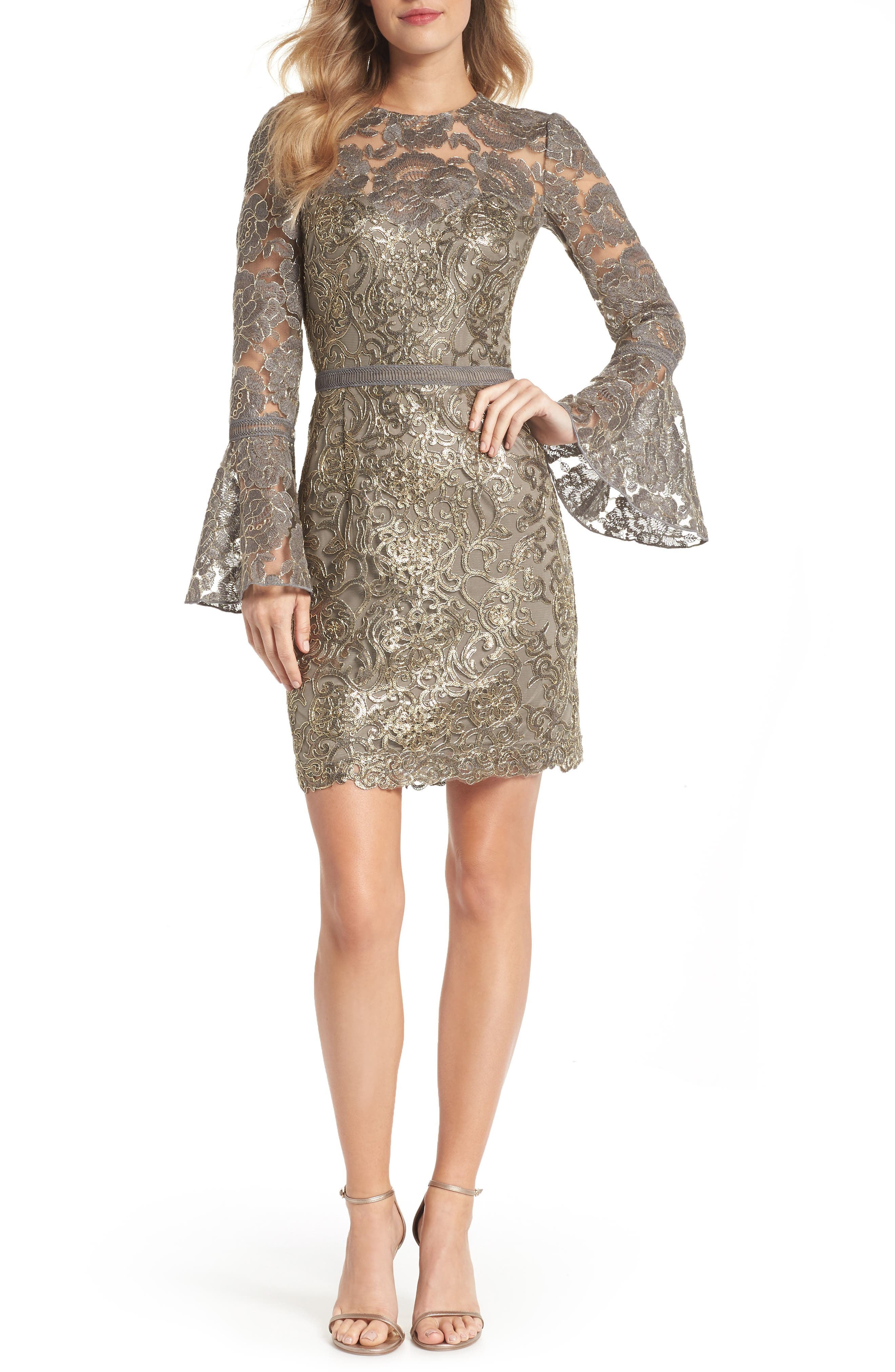 Embroidered Sequin Sheath Dress,                         Main,                         color, Smoke Pearl
