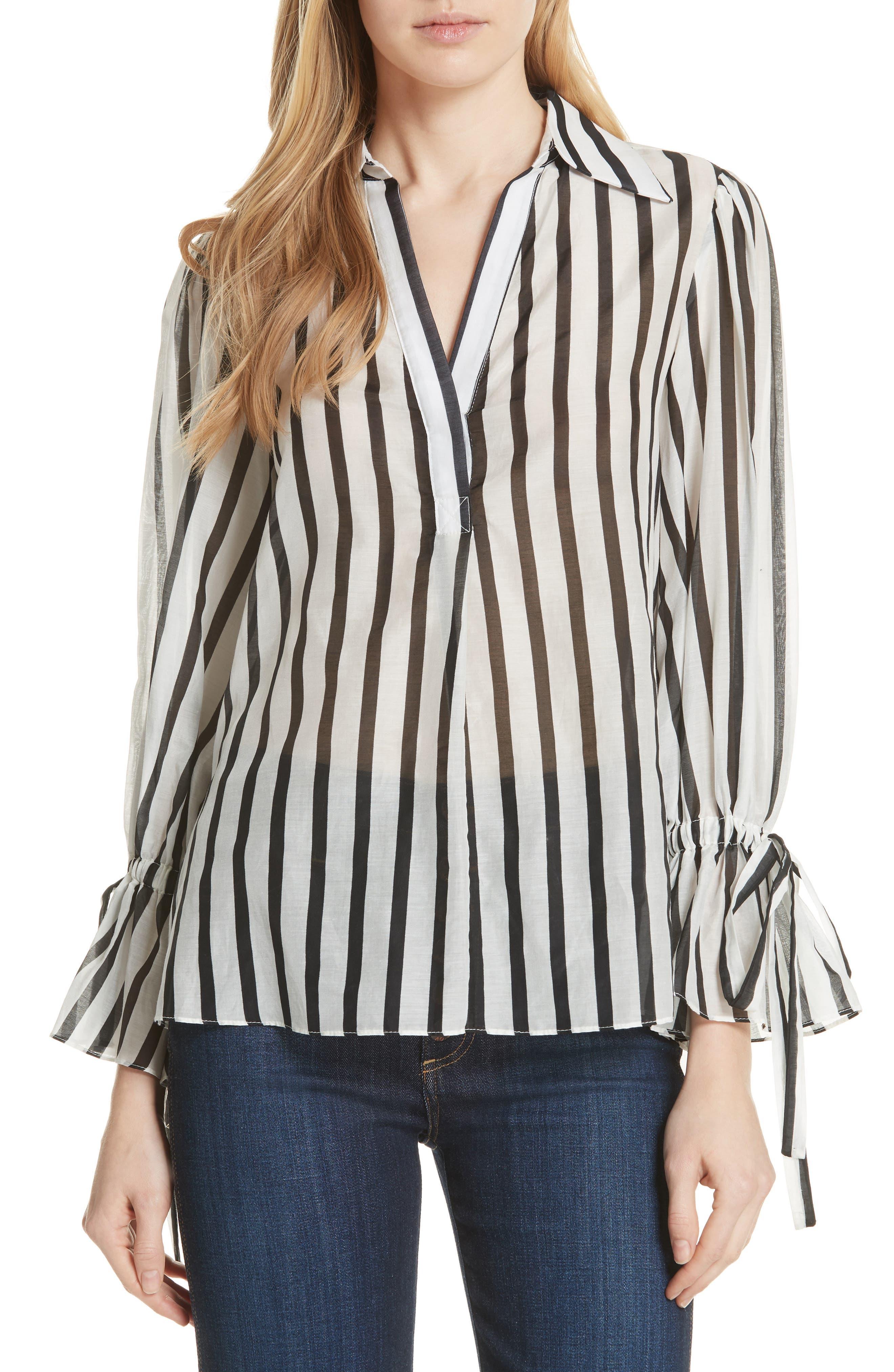 Geraldine Bow Sleeve Stripe Cotton Silk Tunic Top,                             Main thumbnail 1, color,                             Monochrome Stripe