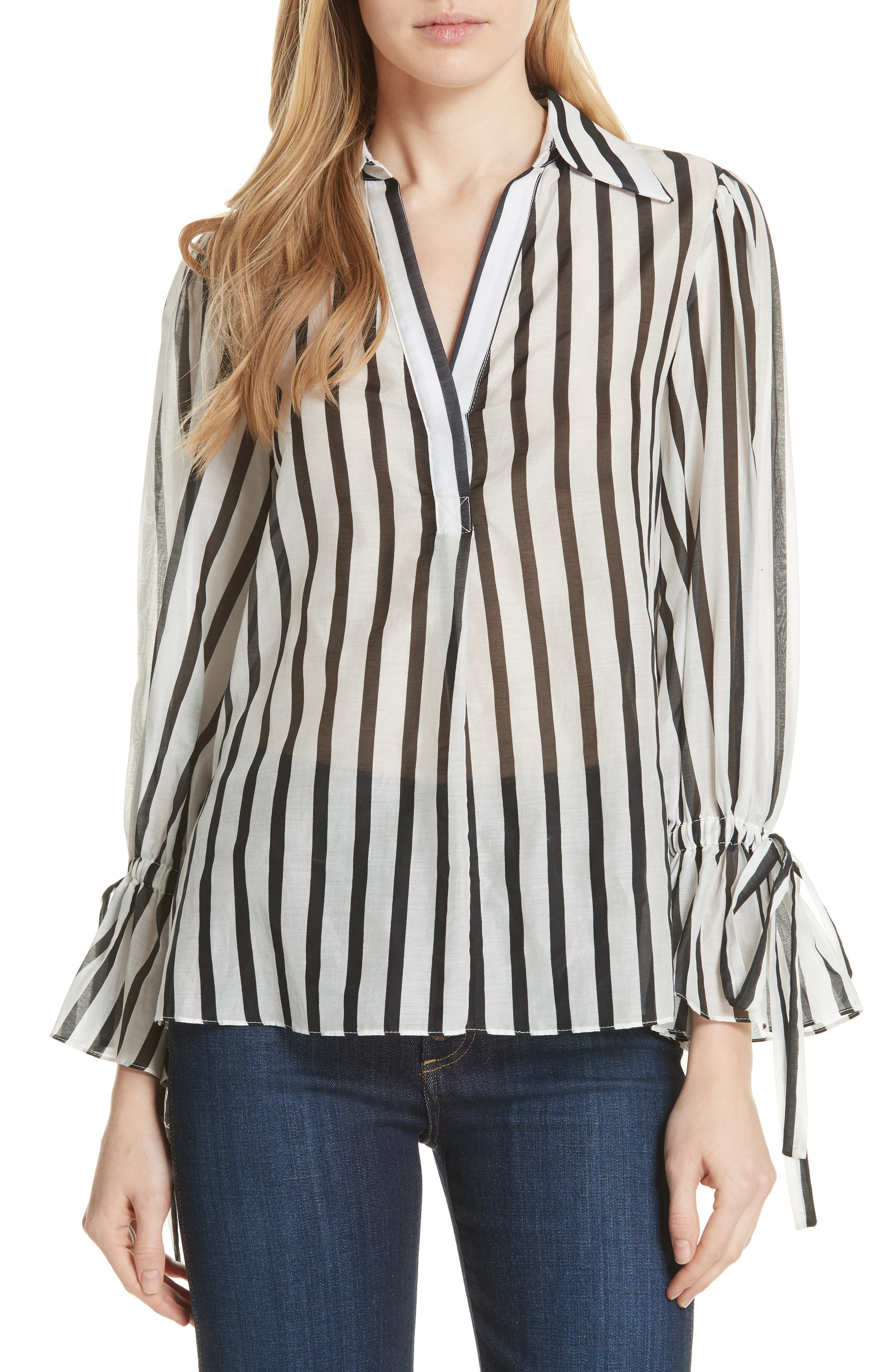 Geraldine Bow Sleeve Stripe Cotton Silk Tunic Top,                         Main,                         color, Monochrome Stripe