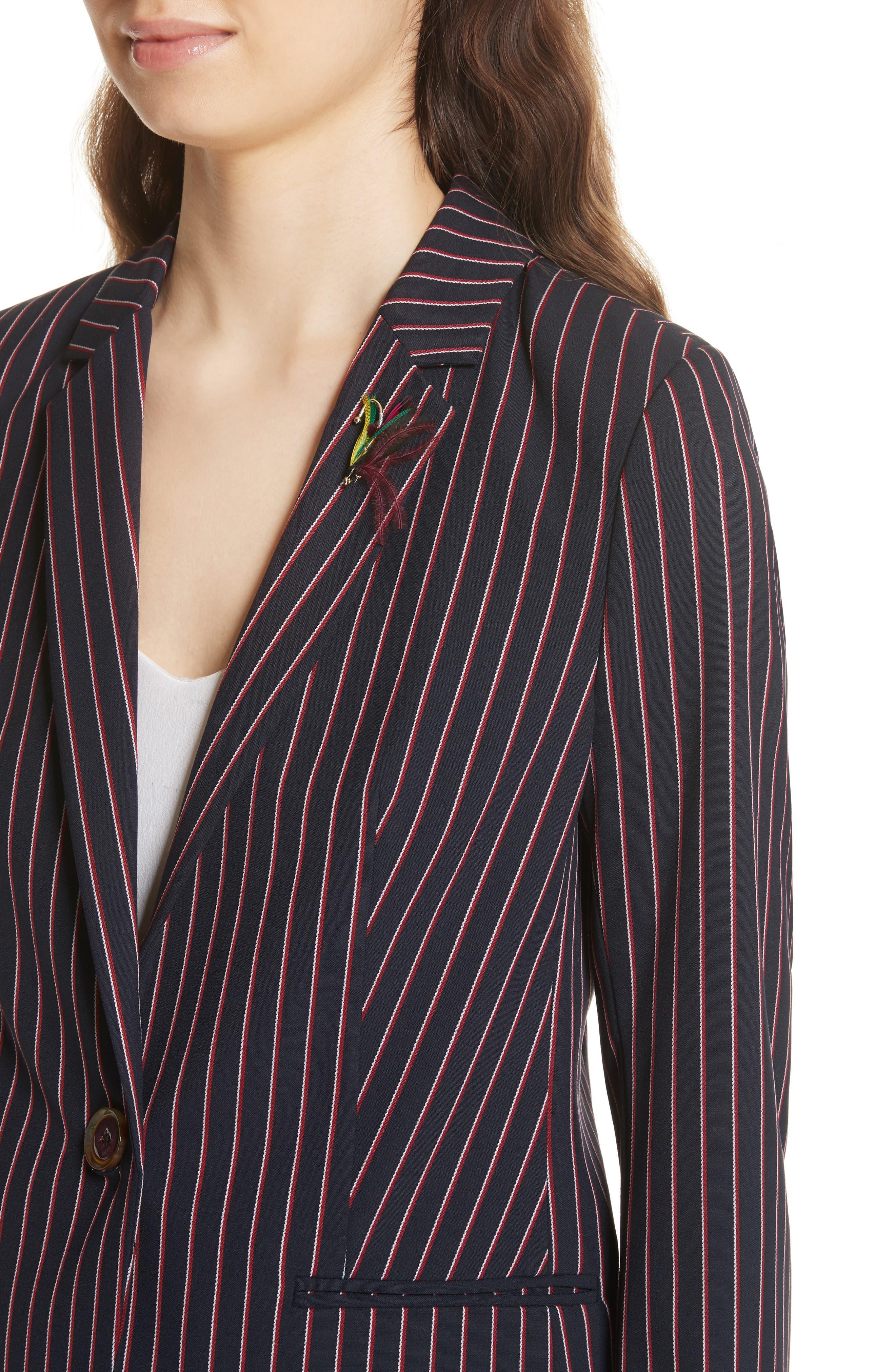 Pinstripe Suit Jacket,                             Alternate thumbnail 4, color,                             Navy