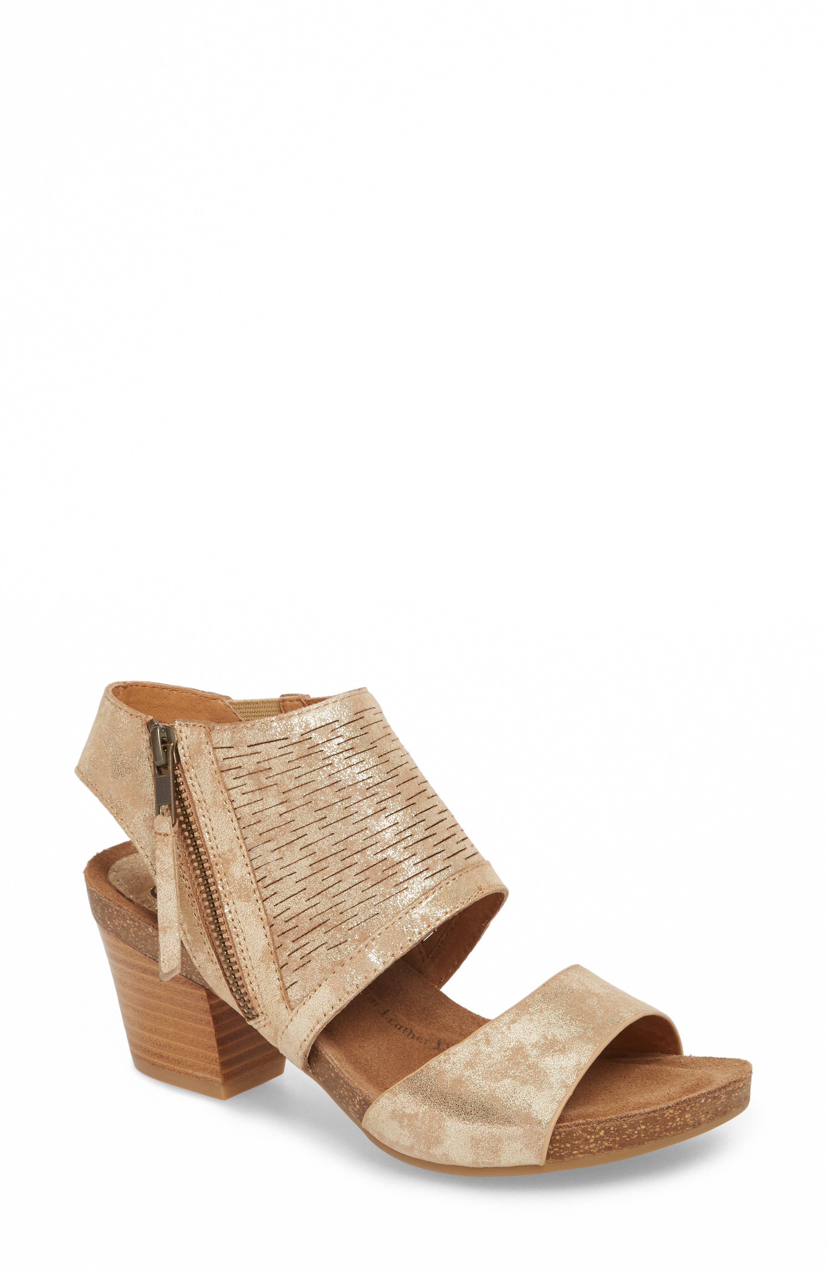 Milan Block Heel Sandal,                         Main,                         color, Platino Distressed Foil Suede