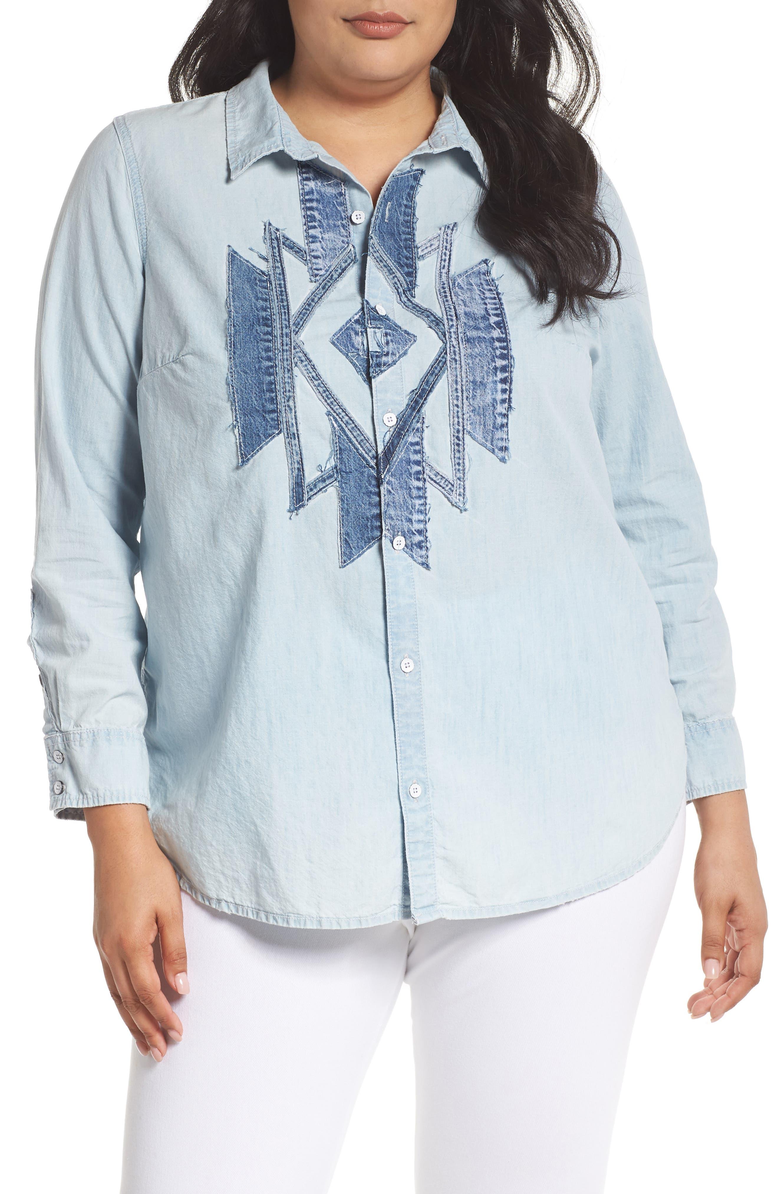 Denim Appliqué Chambray Shirt,                             Main thumbnail 1, color,                             Navajo Fort Bend