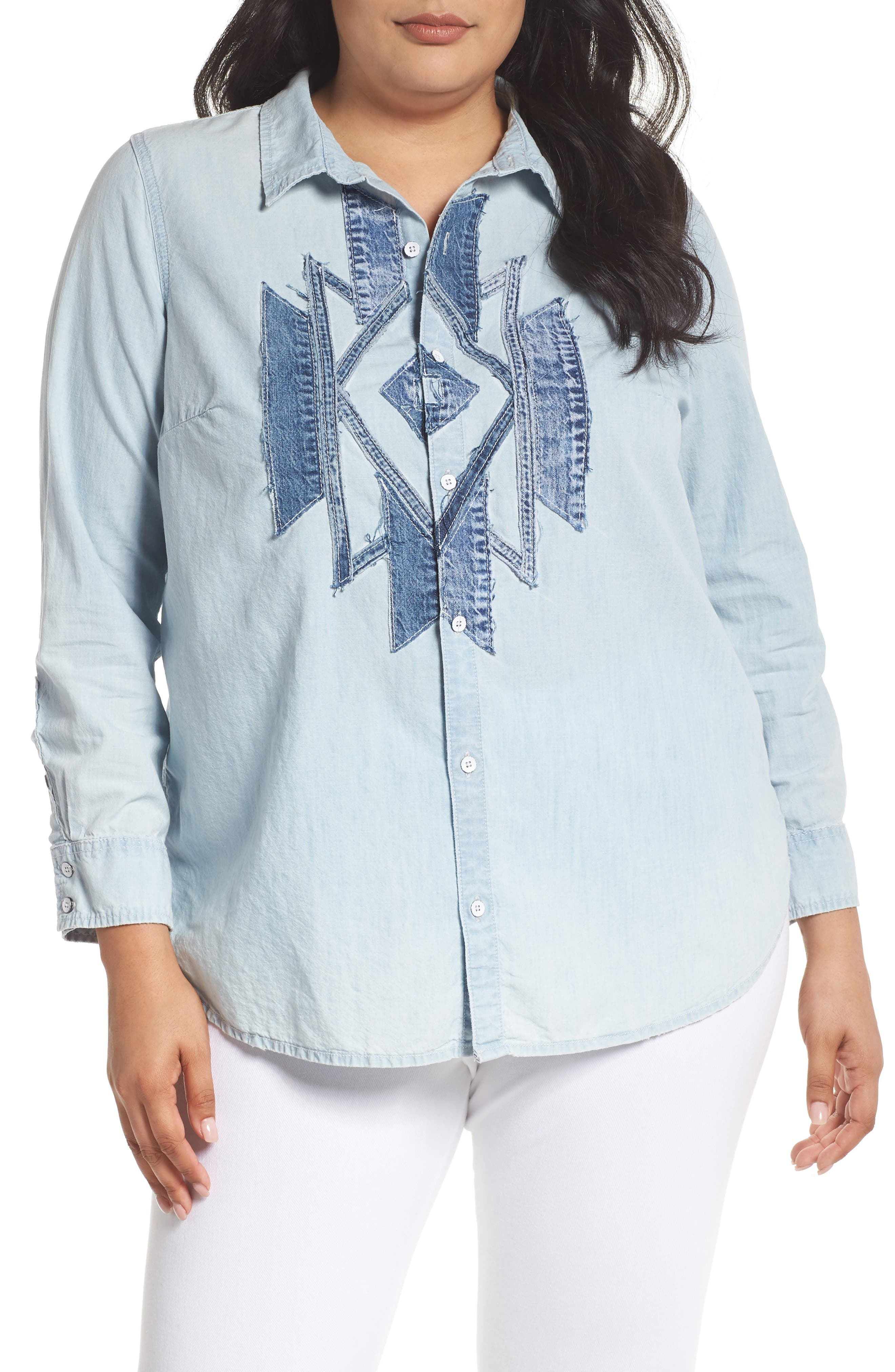 Denim Appliqué Chambray Shirt,                         Main,                         color, Navajo Fort Bend