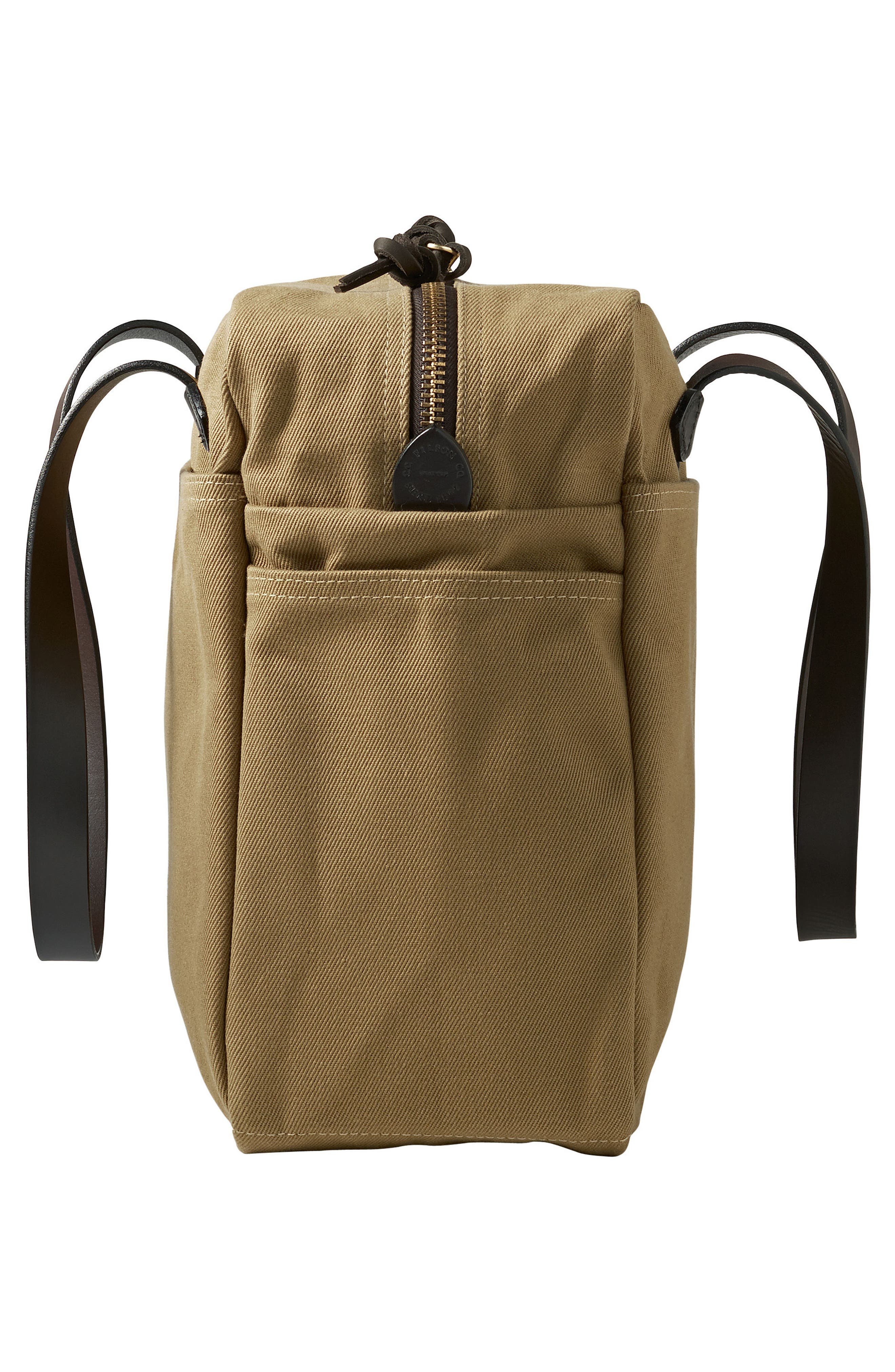 Rugged Twill Zip Tote Bag,                             Alternate thumbnail 4, color,                             Tan