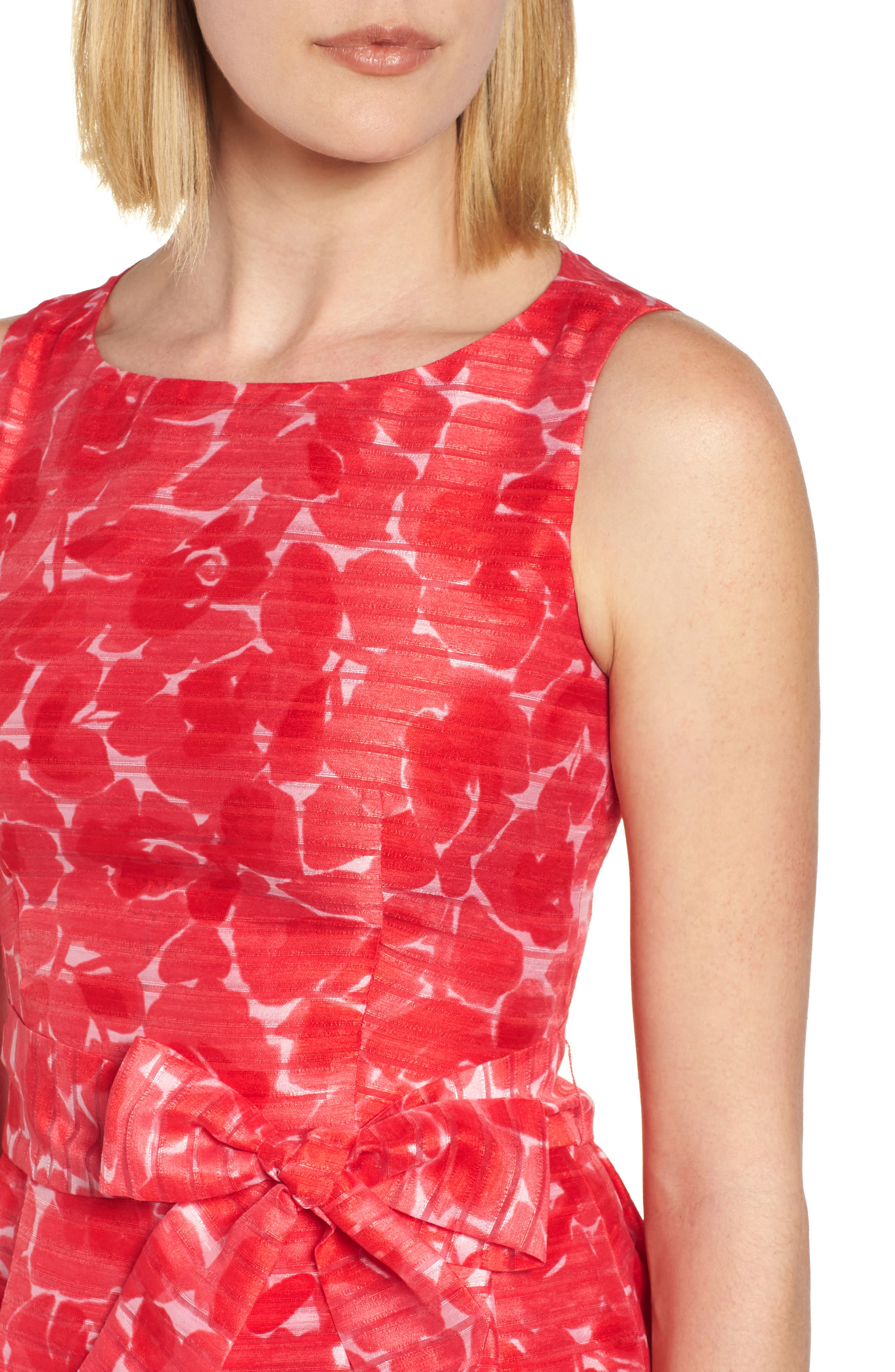 New York Rosewater Shadow Fit & Flare Dress,                             Alternate thumbnail 4, color,                             Tomato Combo
