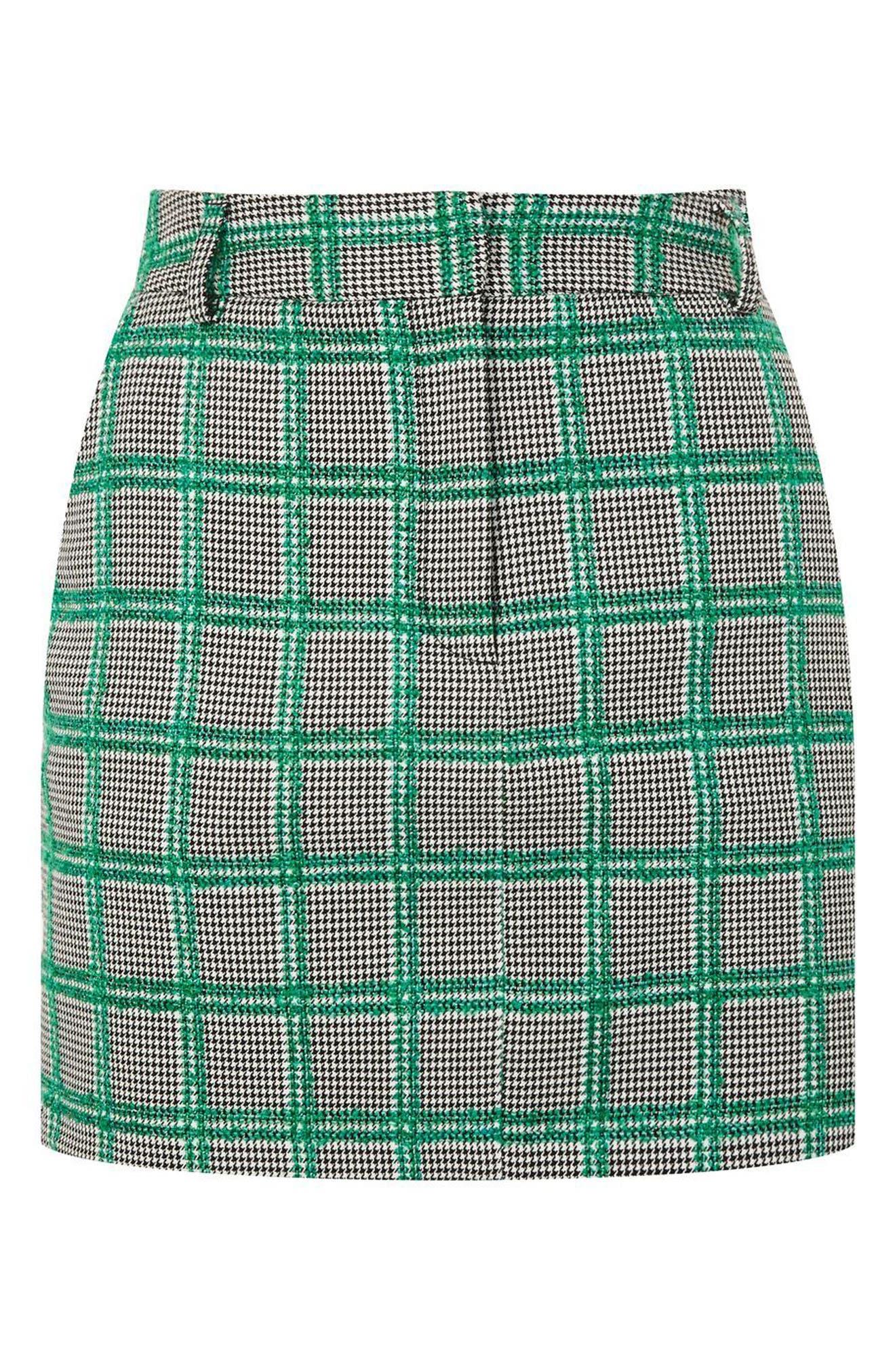 Check Pelmet Skirt,                             Alternate thumbnail 3, color,                             Green Multi