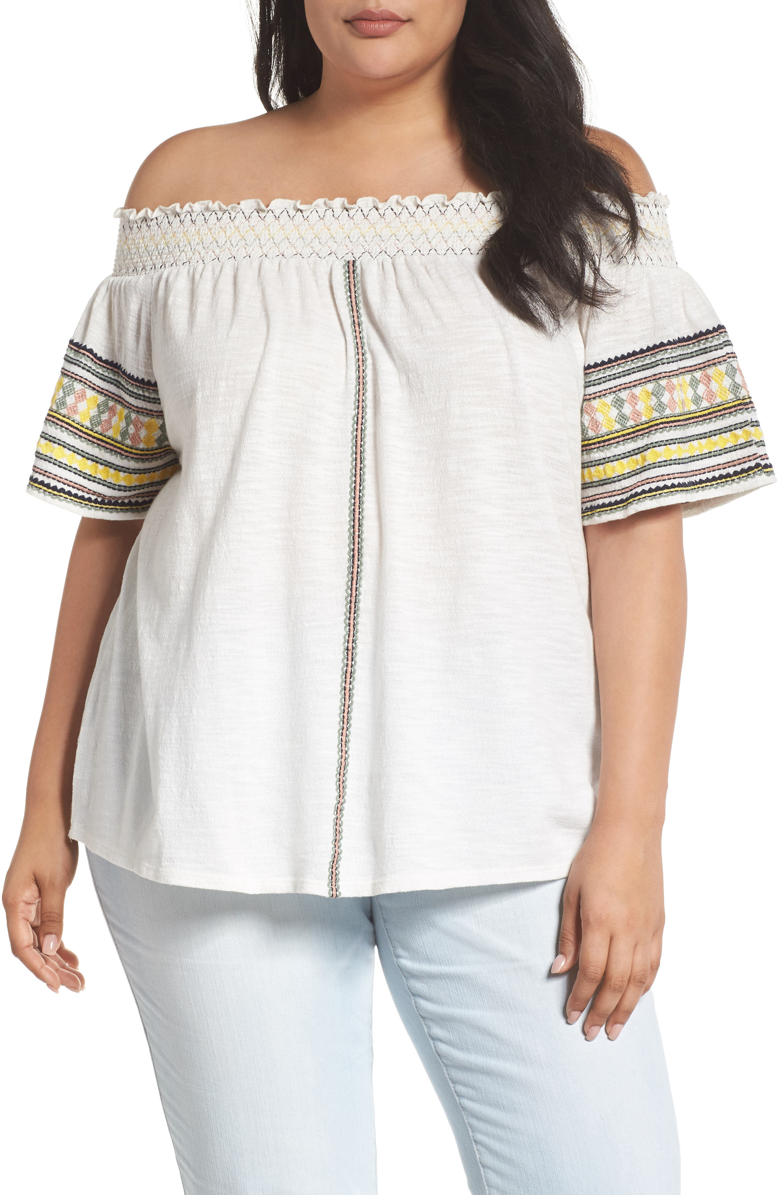 Embroidered Off the Shoulder Top,                             Main thumbnail 1, color,                             Marshmallow