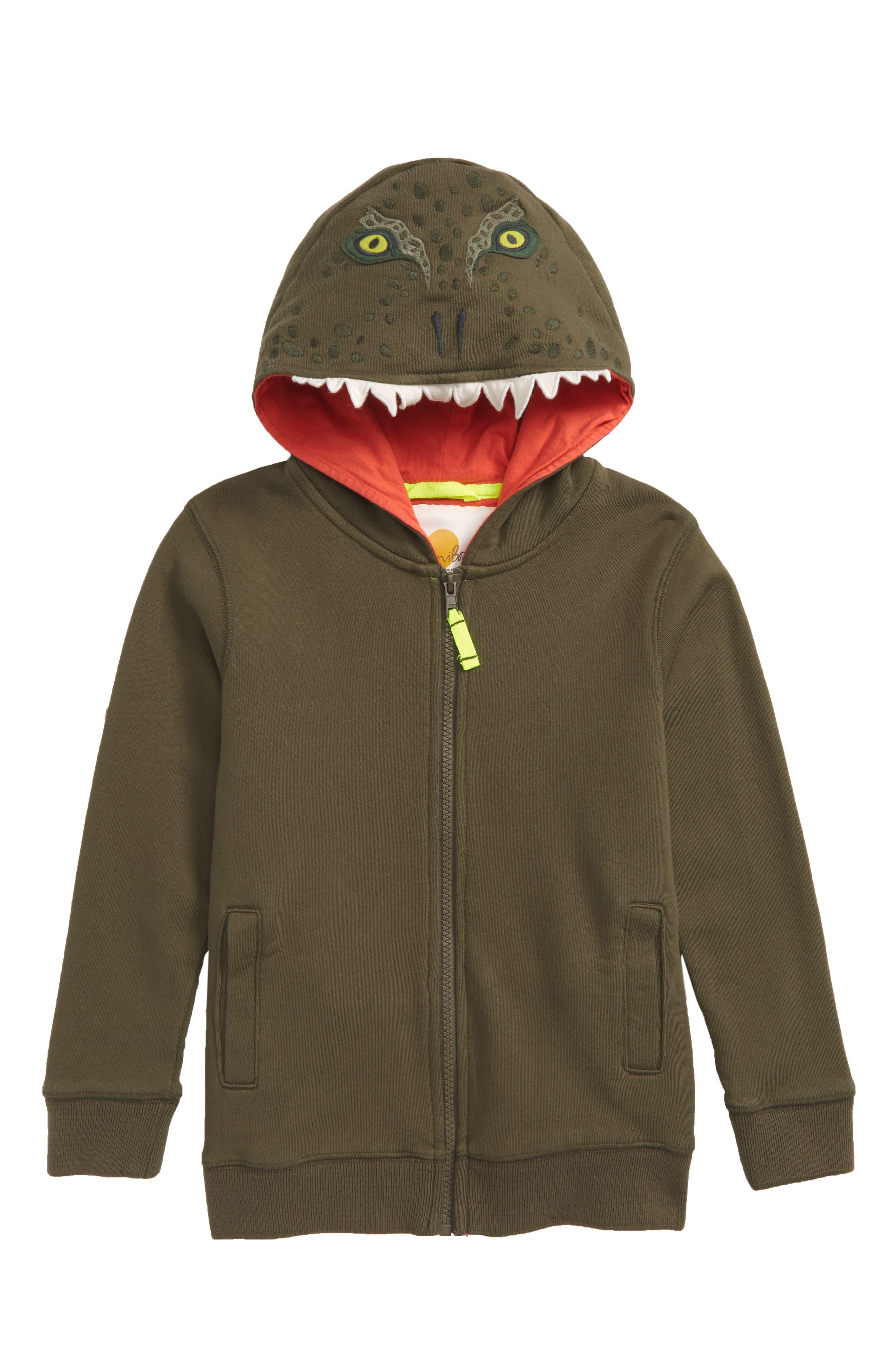 Dino Full Zip Hoodie,                             Main thumbnail 1, color,                             Khaki Green Dinosaur
