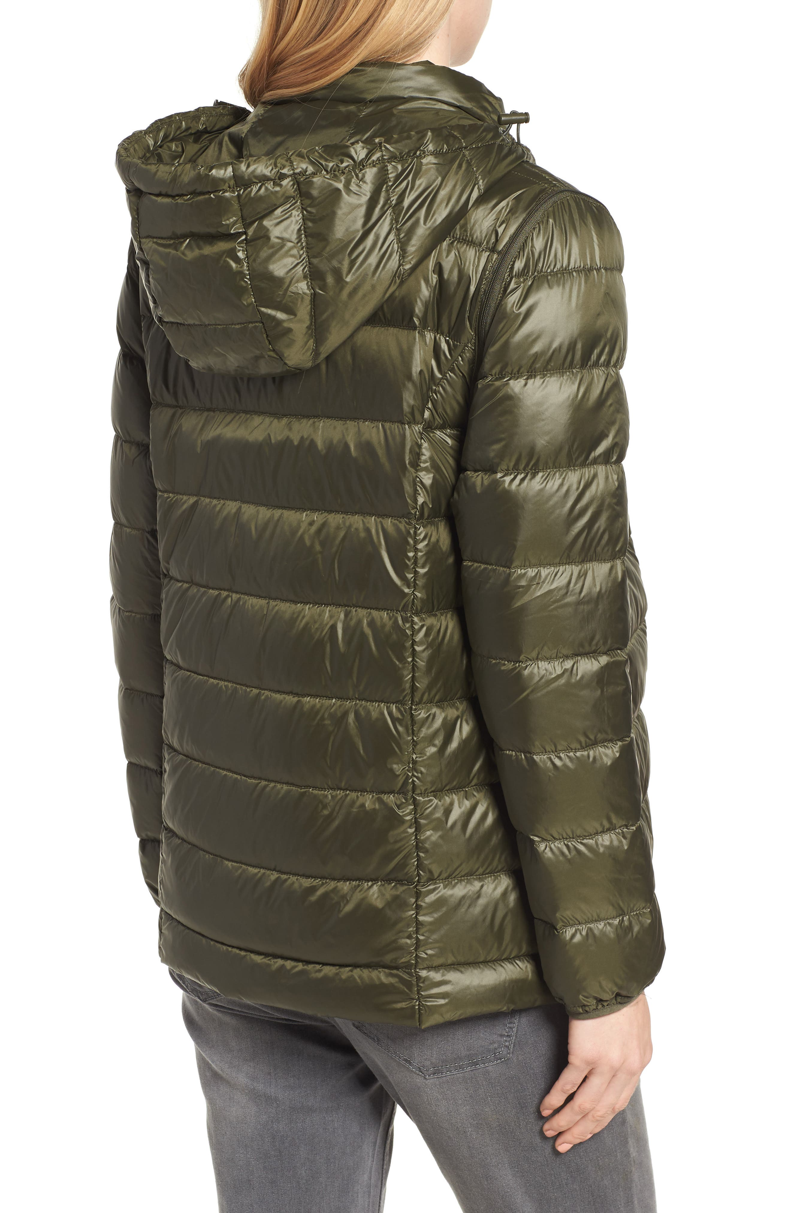 Lightweight Puffer Convertible 3-in-1 Maternity Jacket,                             Alternate thumbnail 4, color,                             Khaki Green