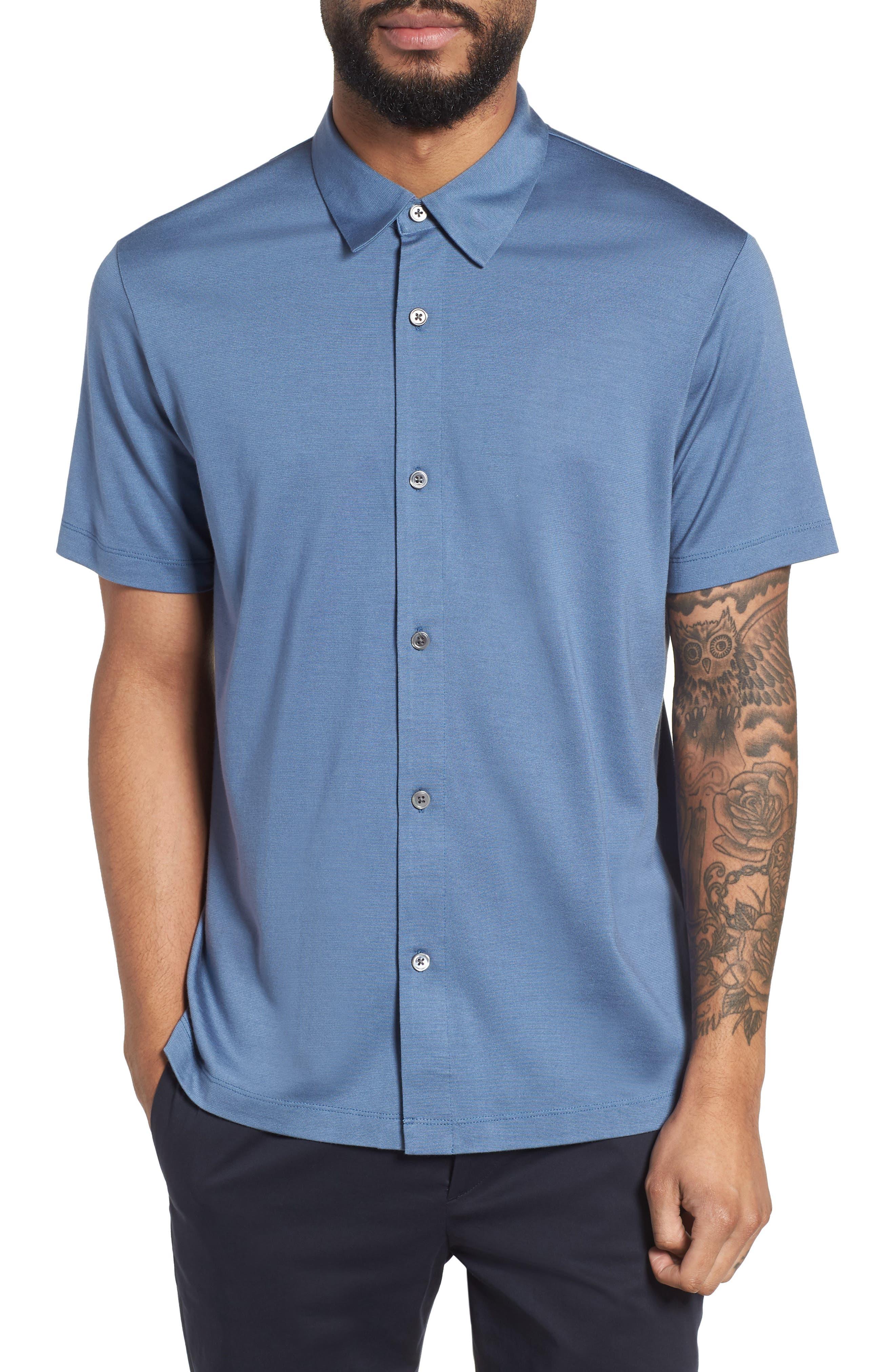 Incisive Silk & Cotton Short Sleeve Sport Shirt,                         Main,                         color, Iris