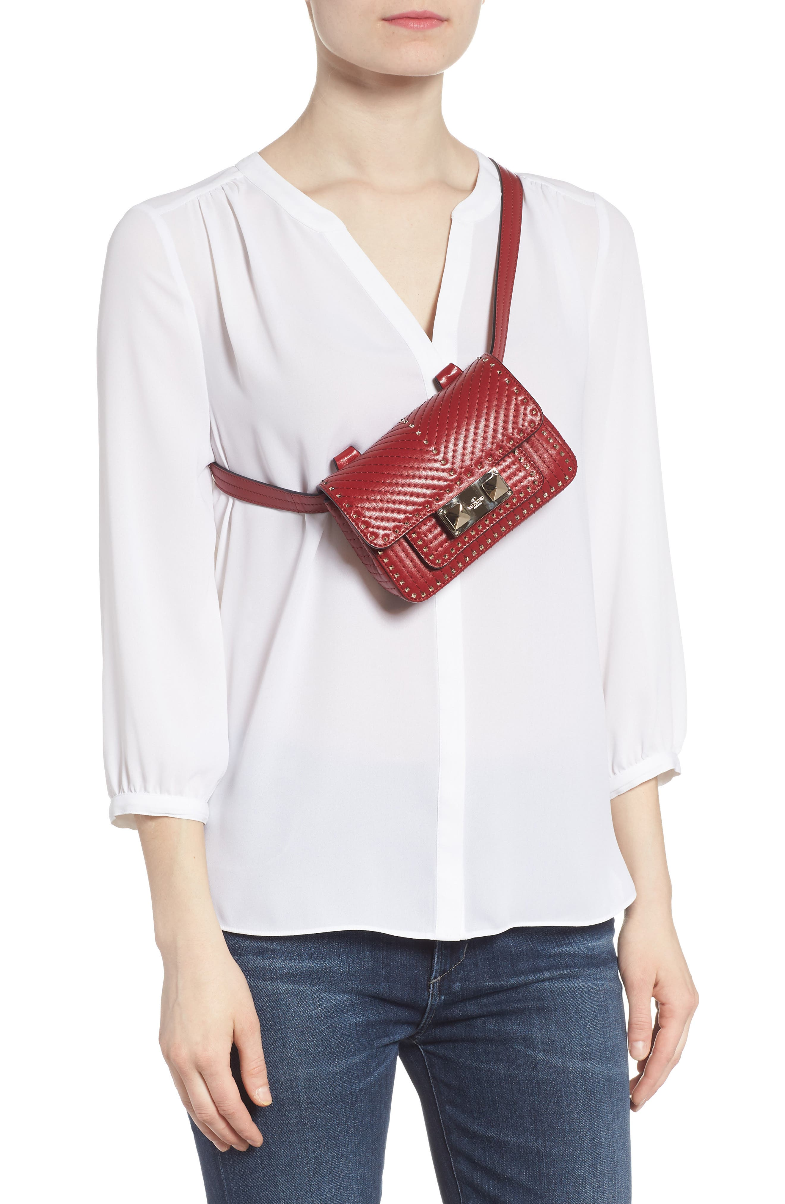 Mini Ziggystud Leather Convertible Crossbody/Belt Bag,                             Alternate thumbnail 2, color,                             Rosso