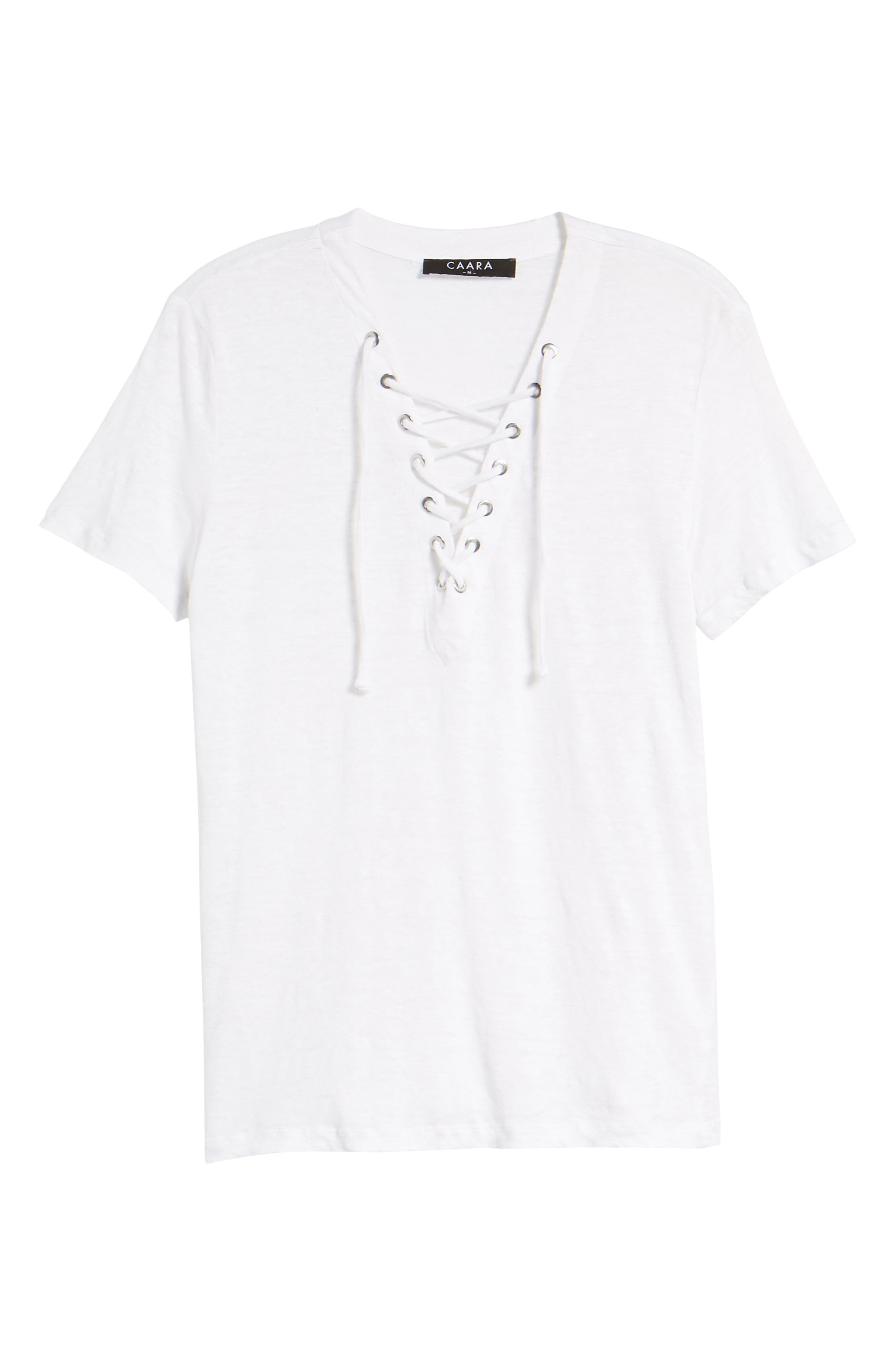 Pier Lace-Up Tee,                             Alternate thumbnail 7, color,                             White