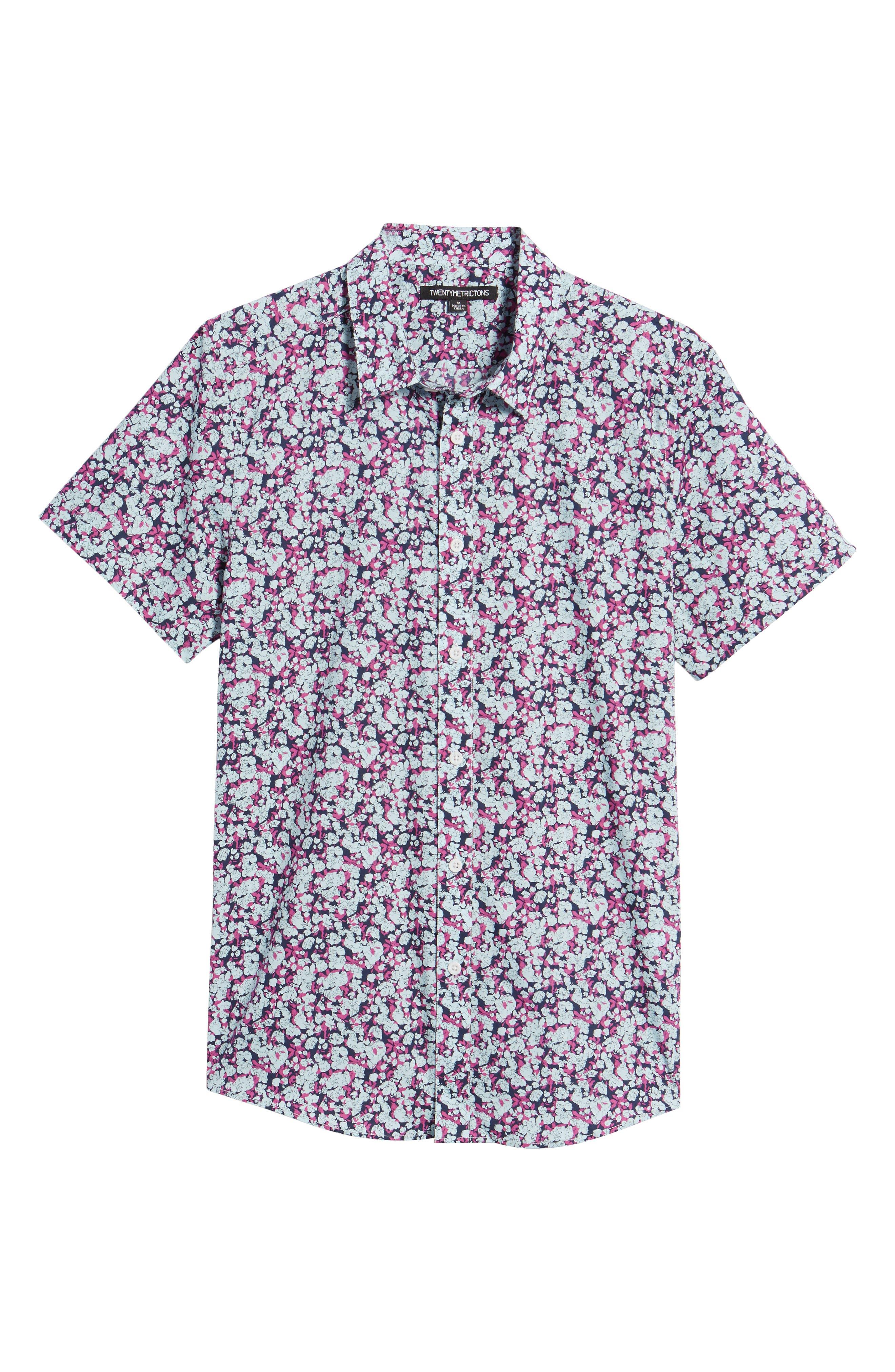 Print Woven Short Sleeve Shirt,                             Alternate thumbnail 6, color,                             Pink Navy