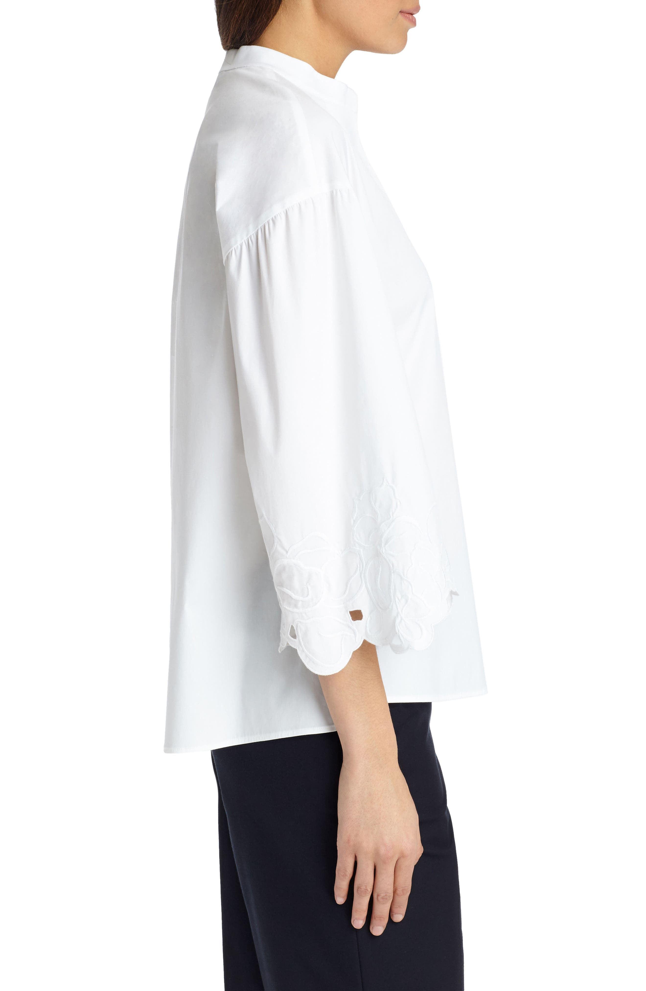 Carla Embroidered Blouse,                             Alternate thumbnail 3, color,                             White