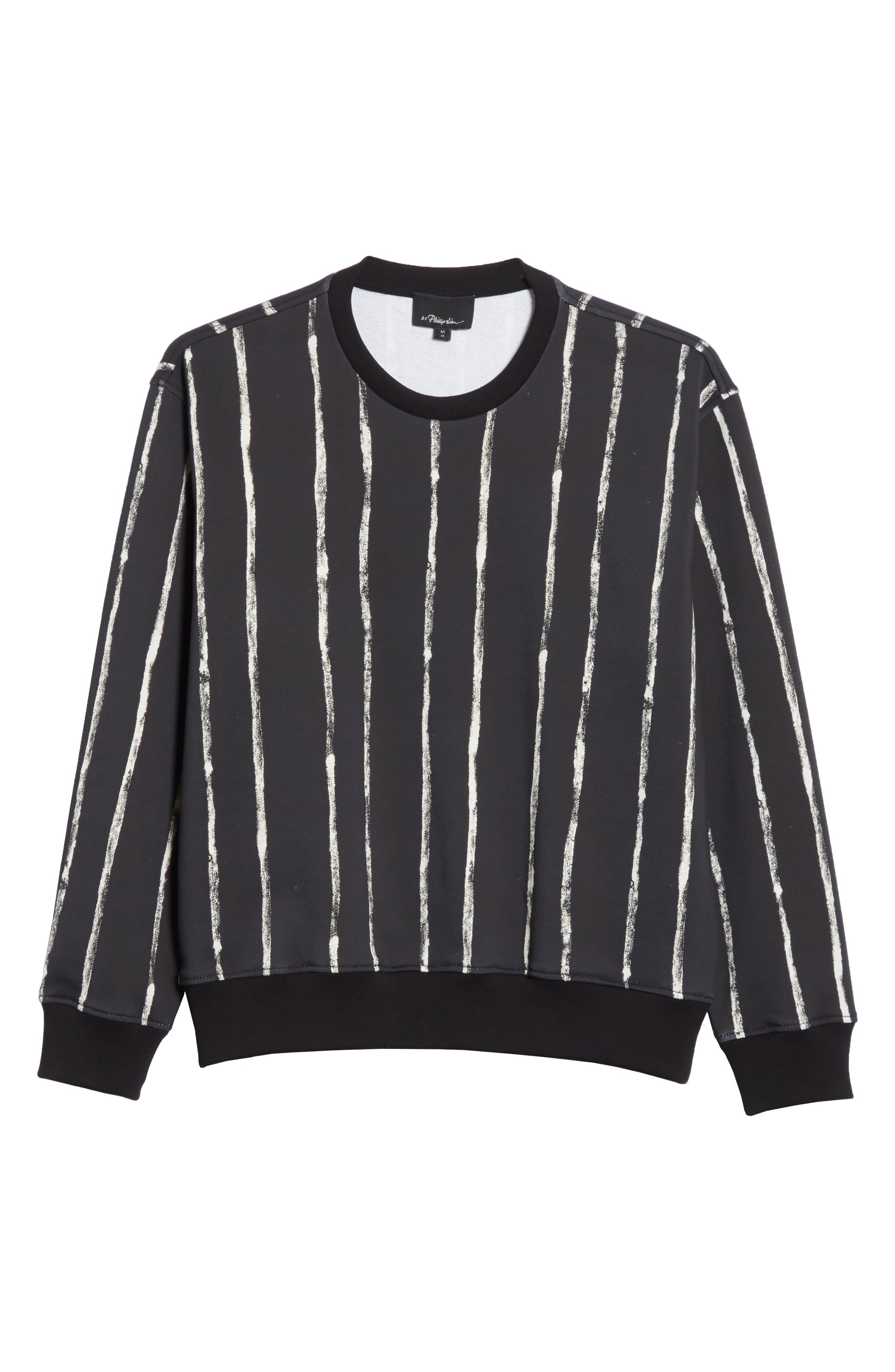 Paint Stripe Crewneck Sweatshirt,                             Alternate thumbnail 6, color,                             Black/ White