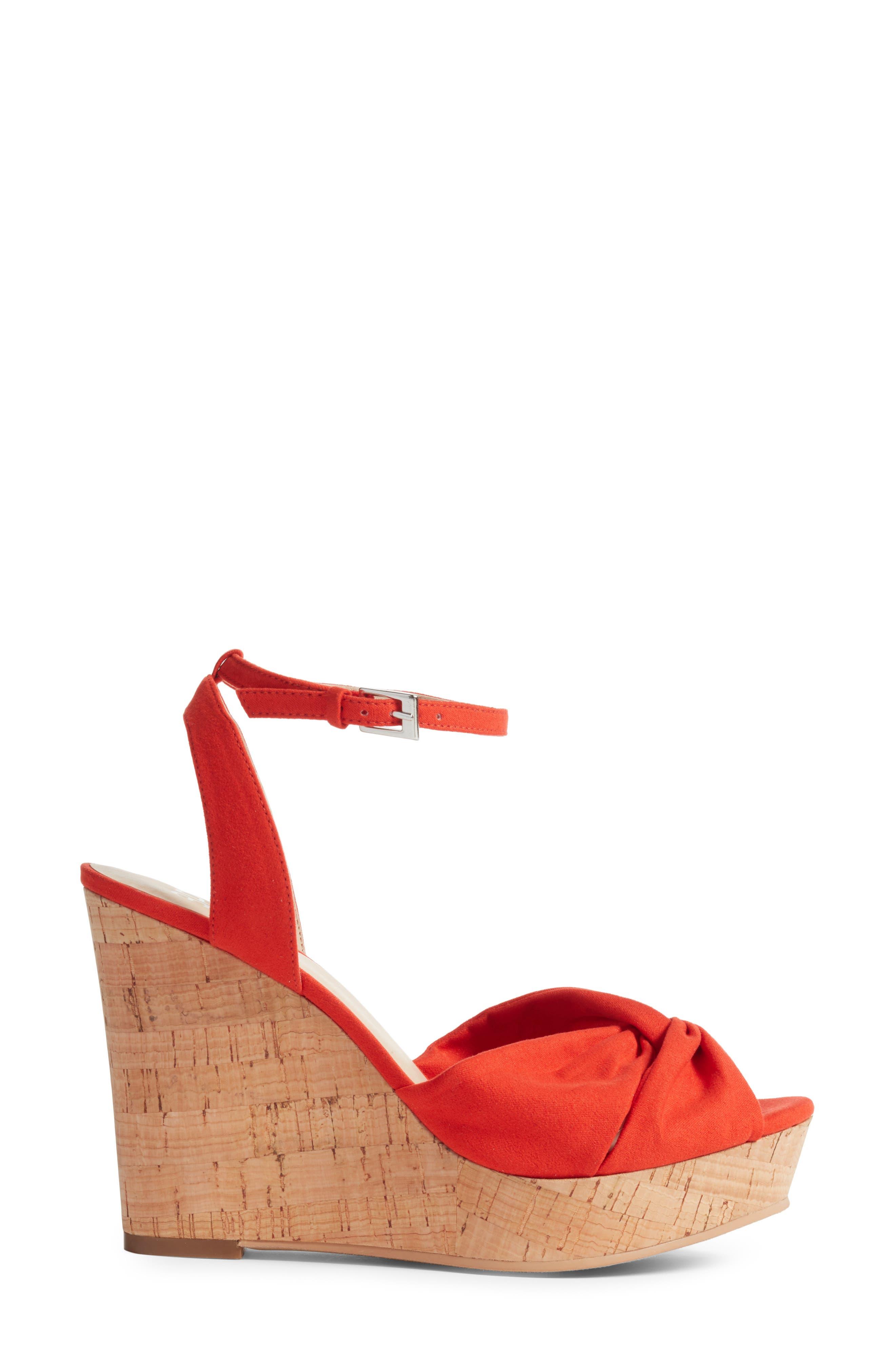 Arya Platform Wedge Sandal,                             Alternate thumbnail 3, color,                             Poppy Faux Suede
