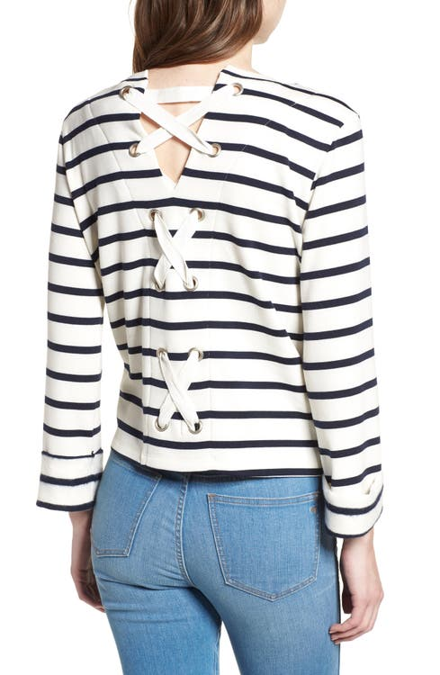 Main Image - Bishop + Young Stripe Lace-Up Back Top