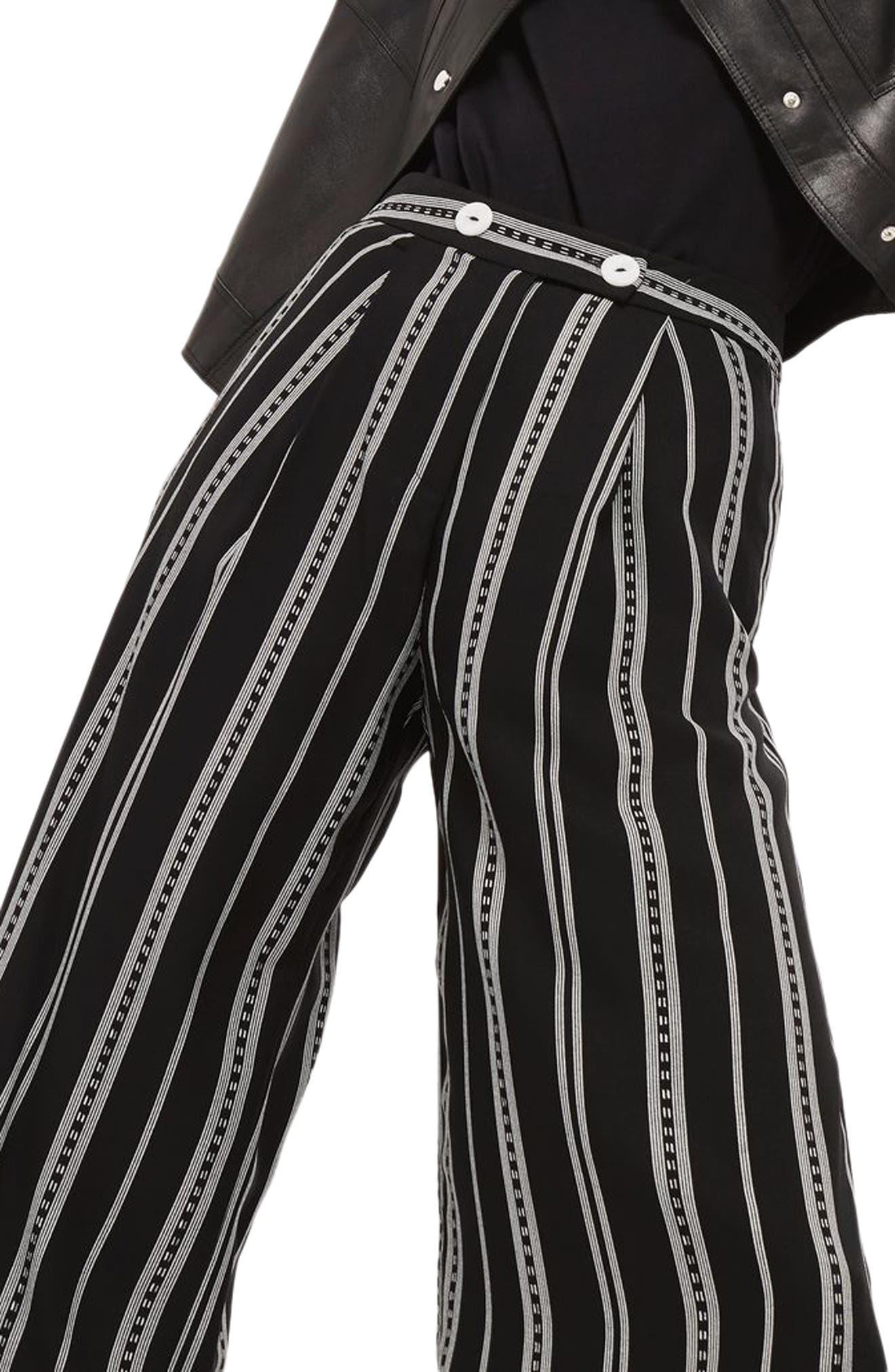 Crop Wide Leg Stripe Trousers,                             Alternate thumbnail 3, color,                             Black Multi