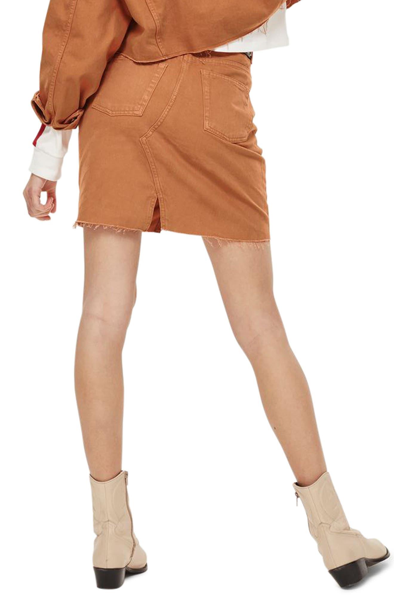 Mini Denim Skirt,                             Alternate thumbnail 2, color,                             Rust