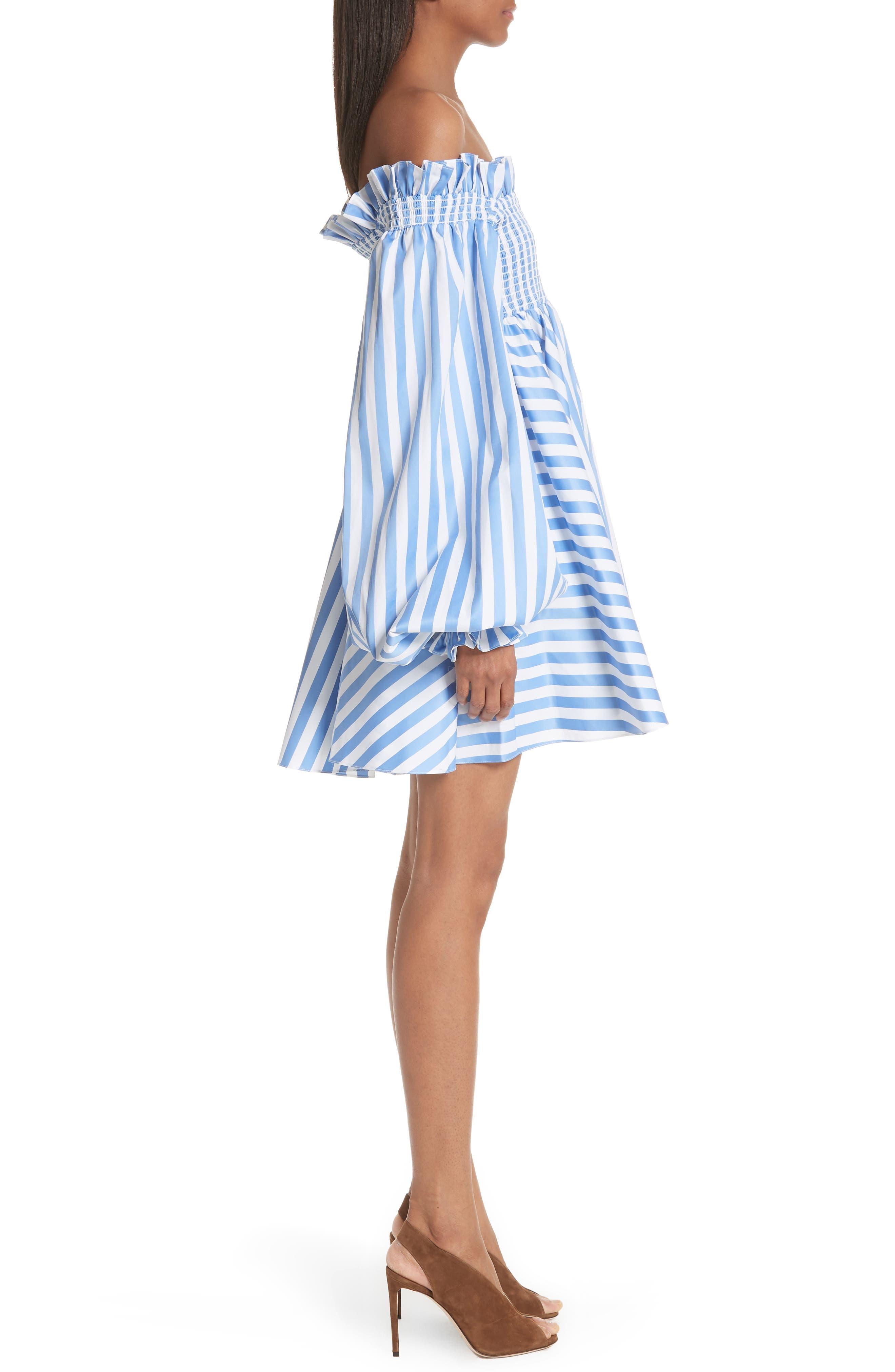 Kora Stripe Off the Shoulder Dress,                             Alternate thumbnail 3, color,                             Blue/ White