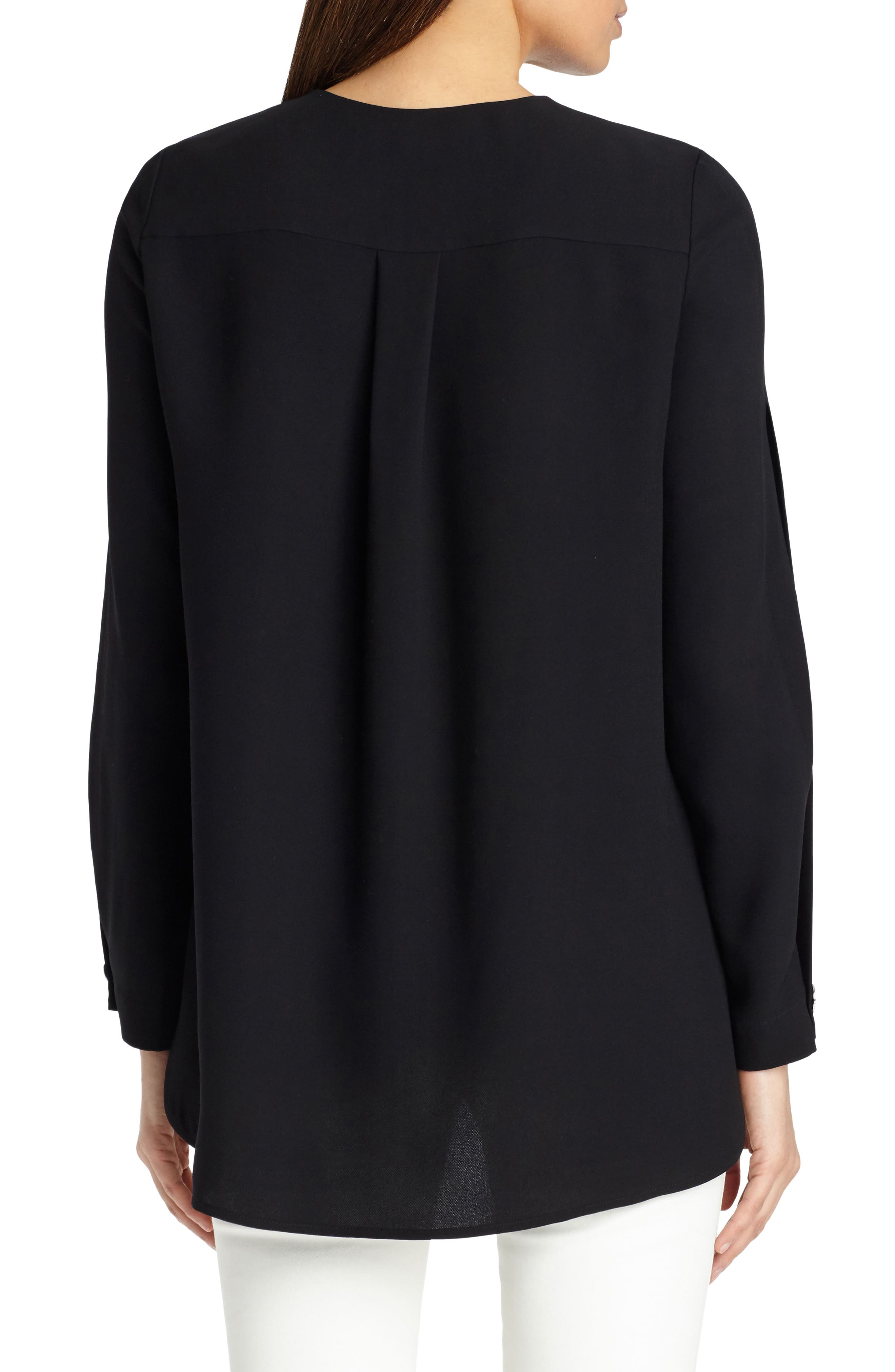 Rowan Double Silk Georgette Blouse,                             Alternate thumbnail 2, color,                             Black