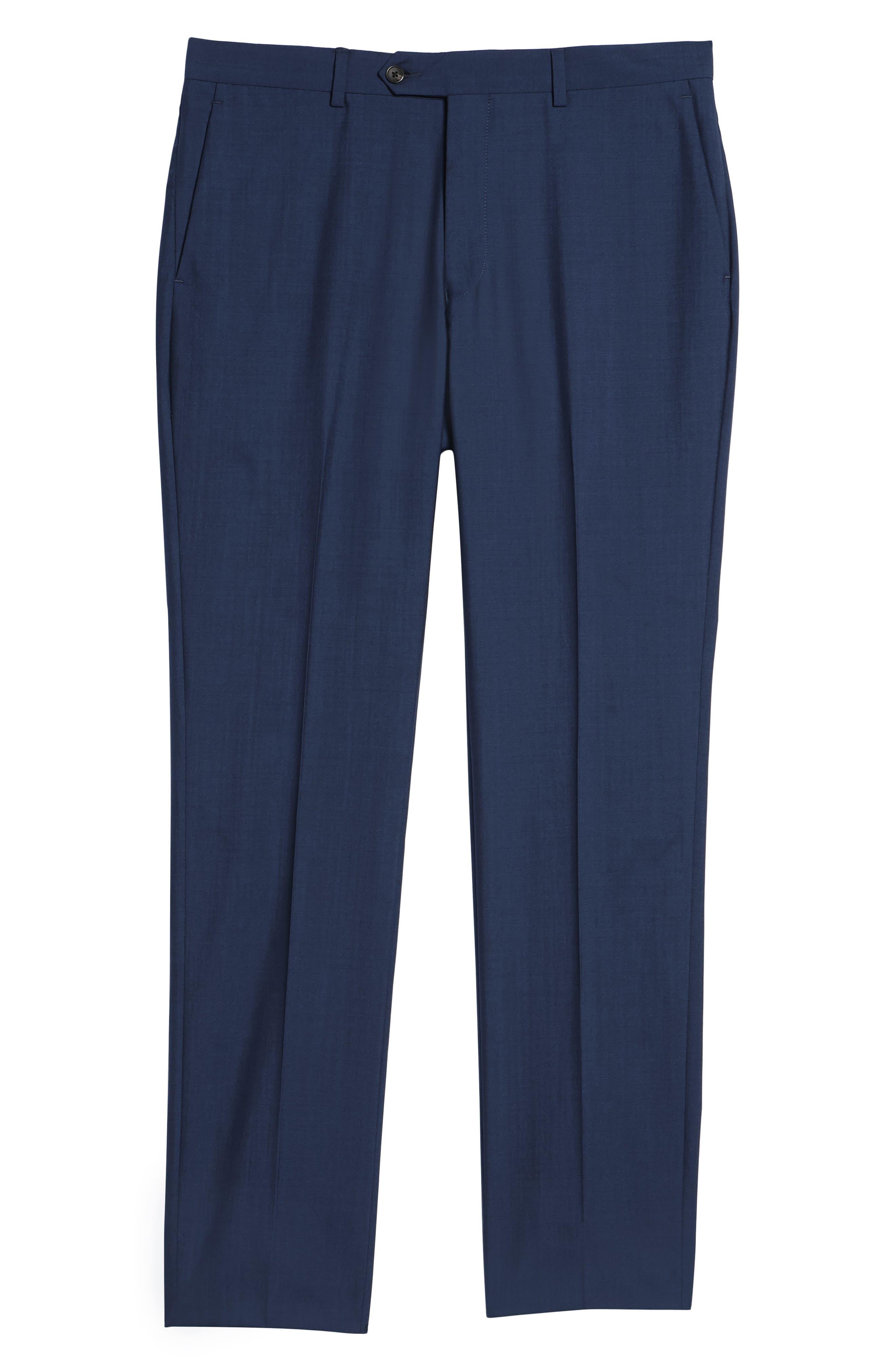 Dagger Flat Front Solid Wool Trousers,                             Alternate thumbnail 6, color,                             High Blue