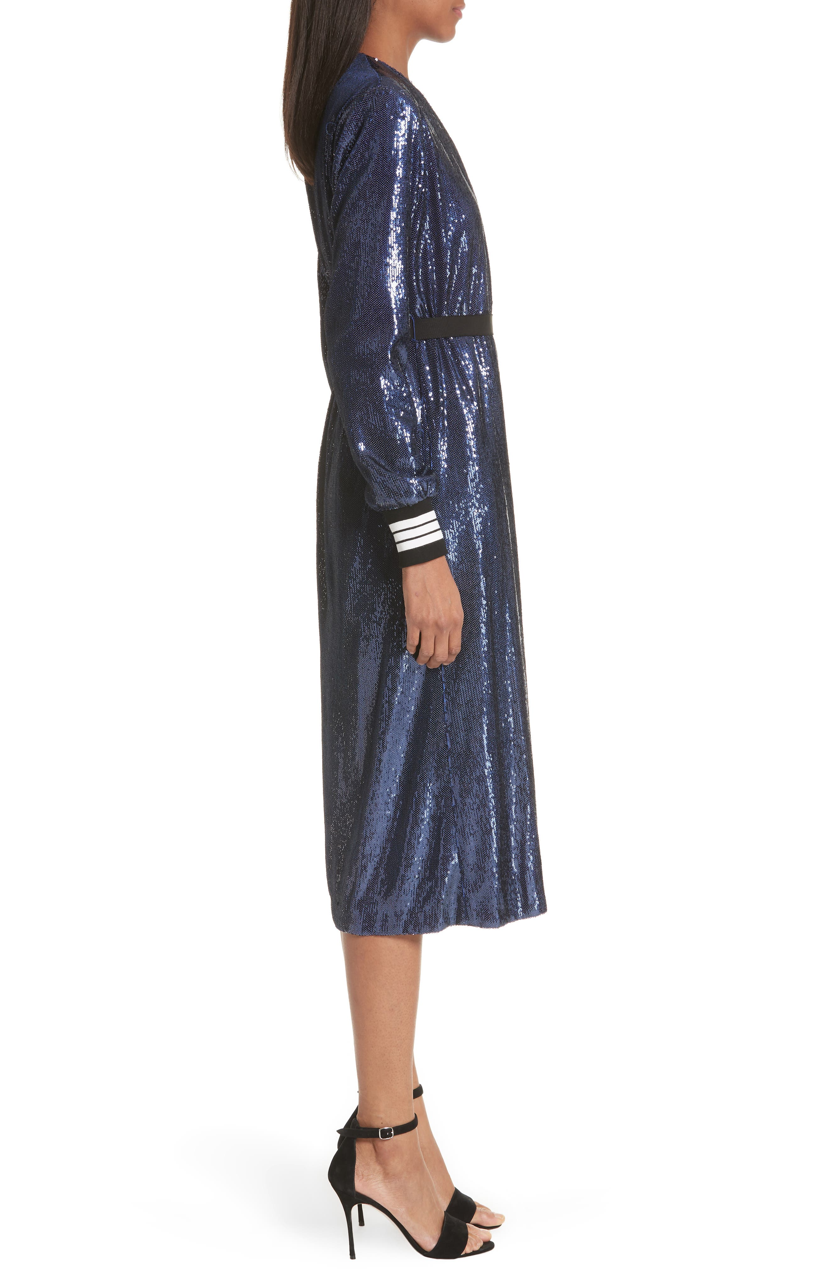 Sequin Wrap Dress,                             Alternate thumbnail 4, color,                             Blue