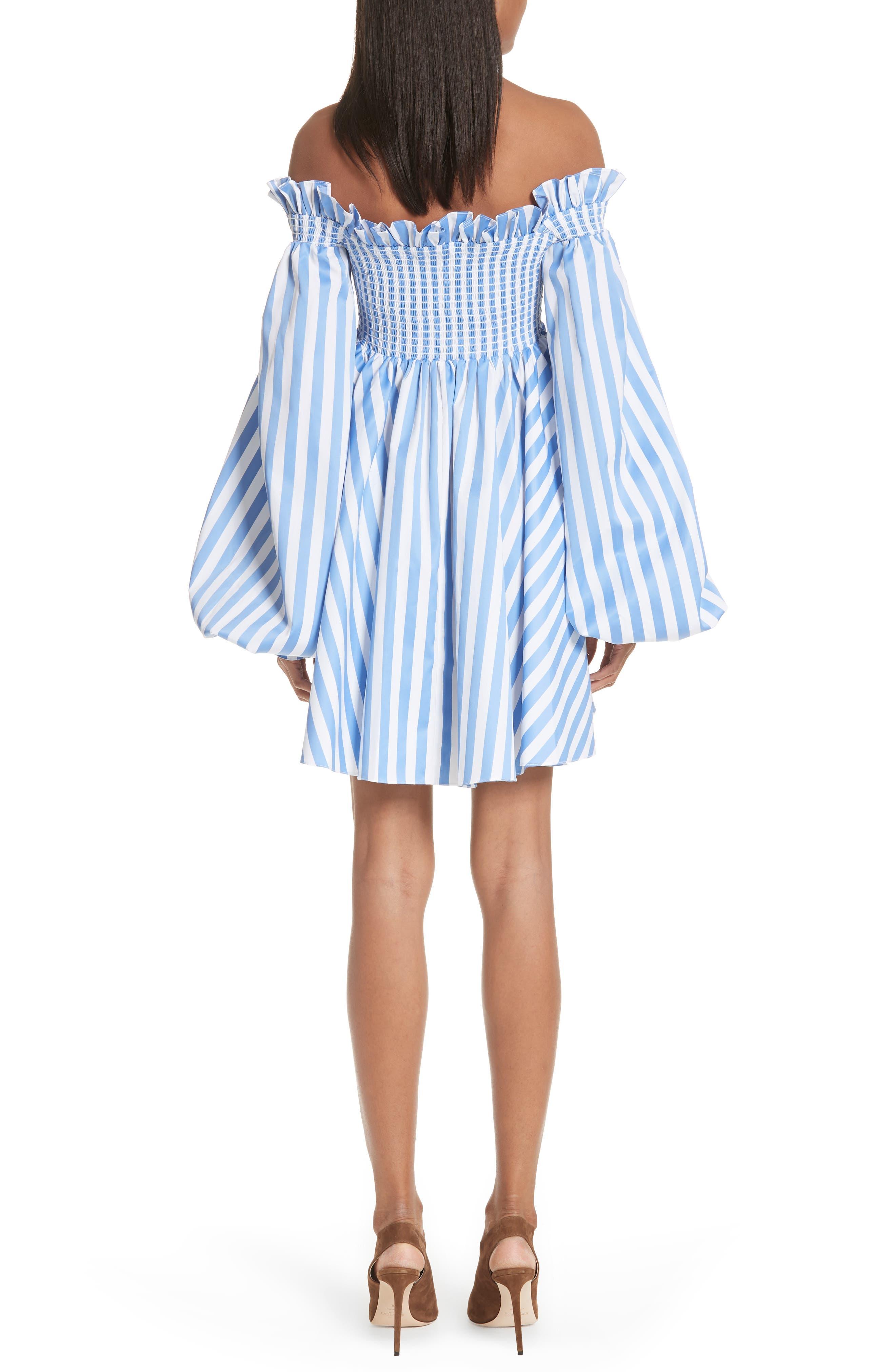 Kora Stripe Off the Shoulder Dress,                             Alternate thumbnail 2, color,                             Blue/ White