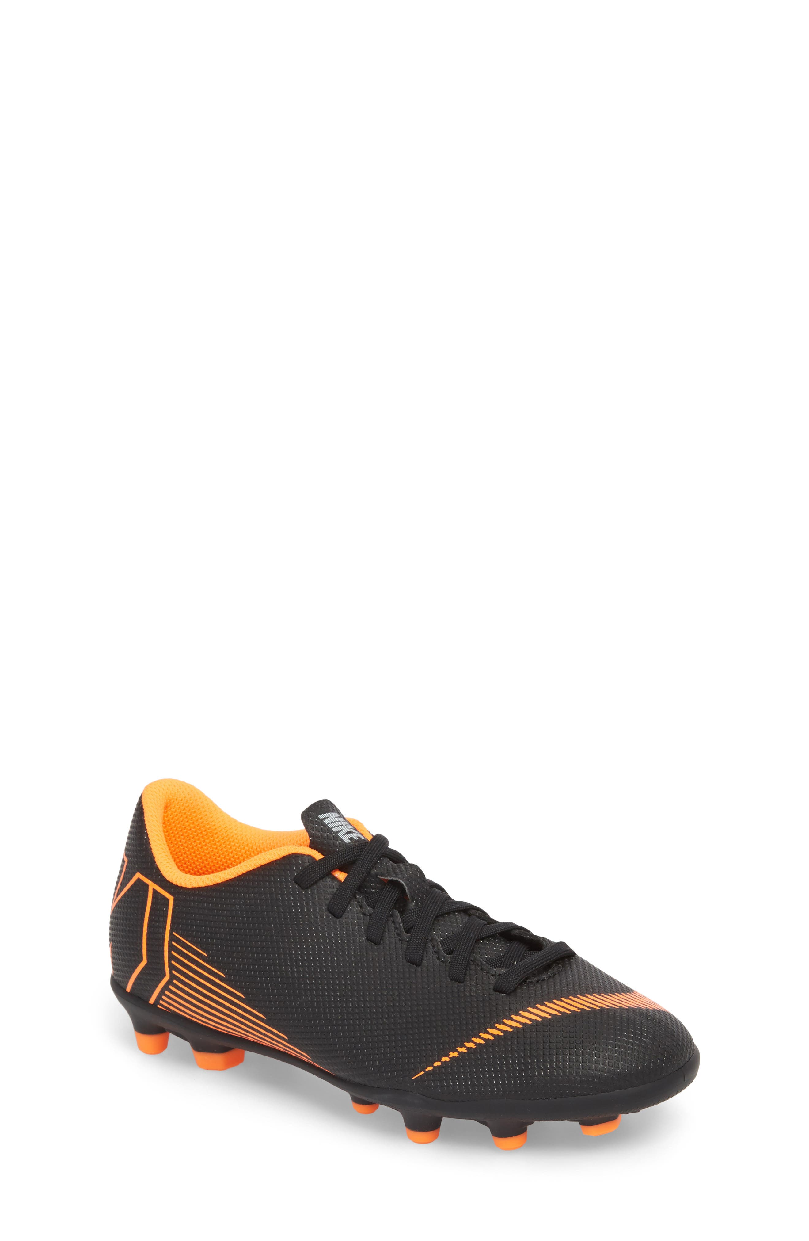 Vapor XII Club Multi Ground Soccer Shoe,                             Main thumbnail 1, color,                             Black/ Total Orange/ White