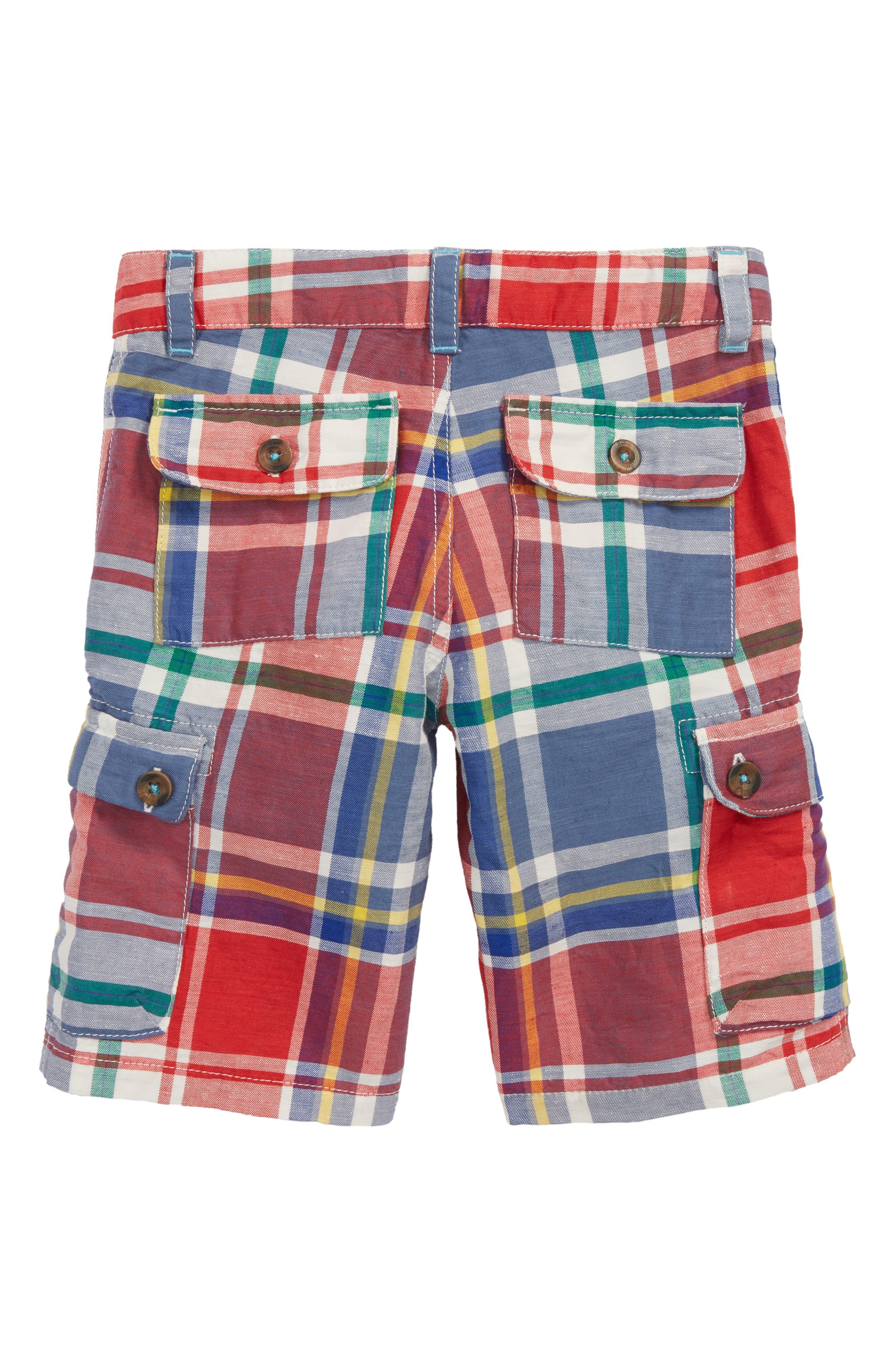 Plaid Cargo Shorts,                             Alternate thumbnail 2, color,                             Washed Crimson Red/ Blue