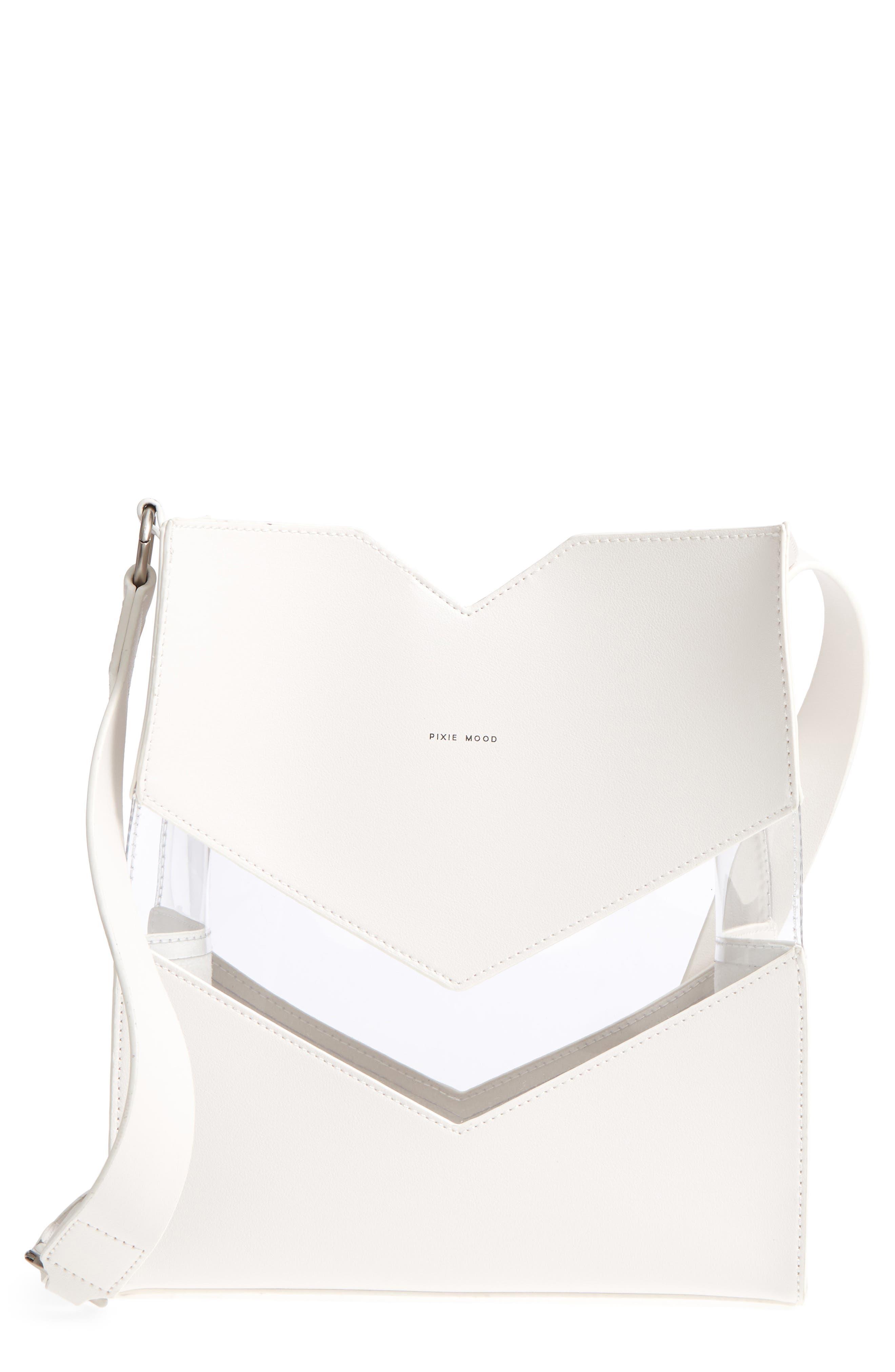Emily Faux Leather Shoulder Bag,                         Main,                         color, Stark White