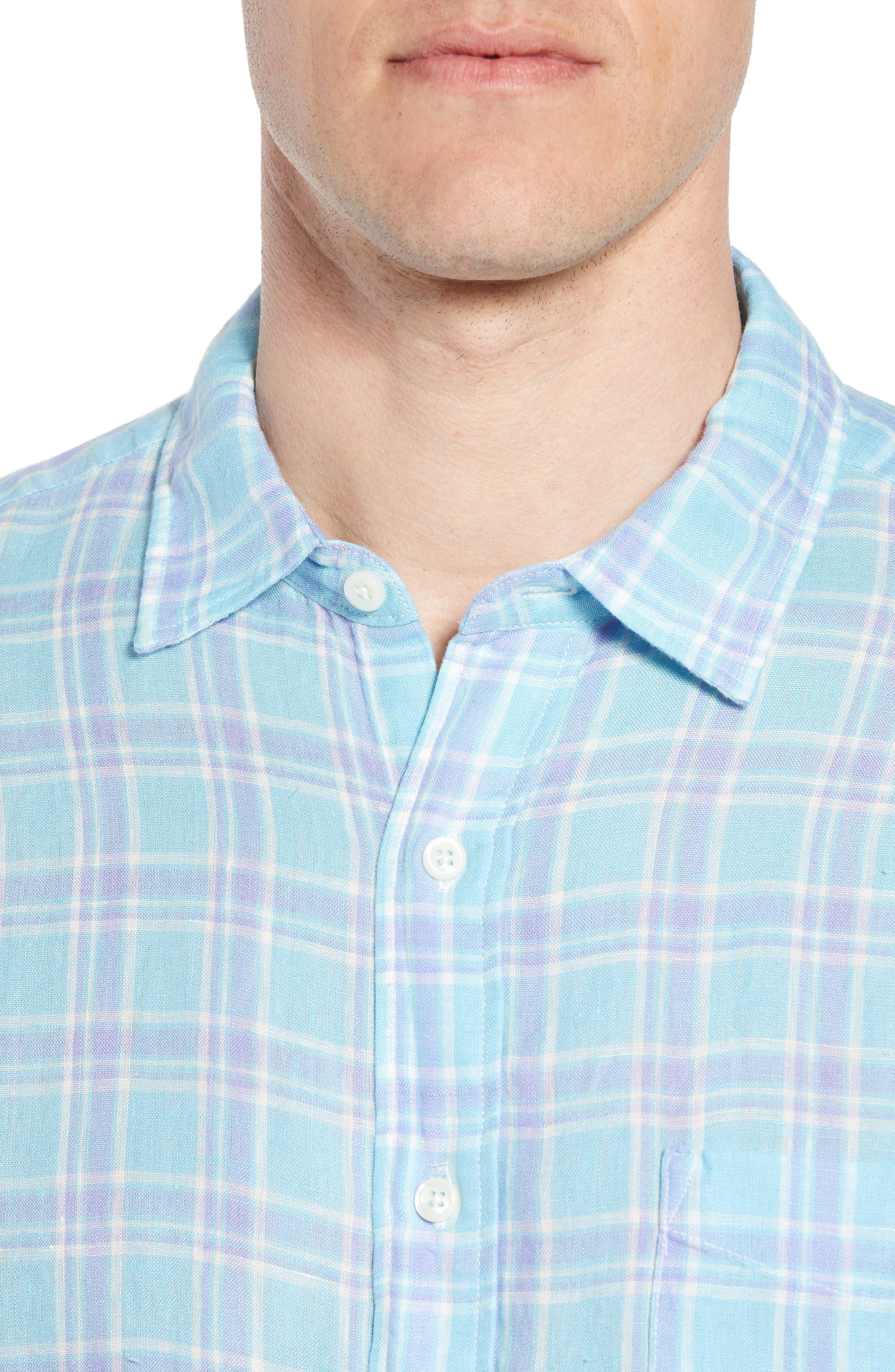Ventura Plaid Linen Sport Shirt,                             Alternate thumbnail 2, color,                             Teal Purple Plaid